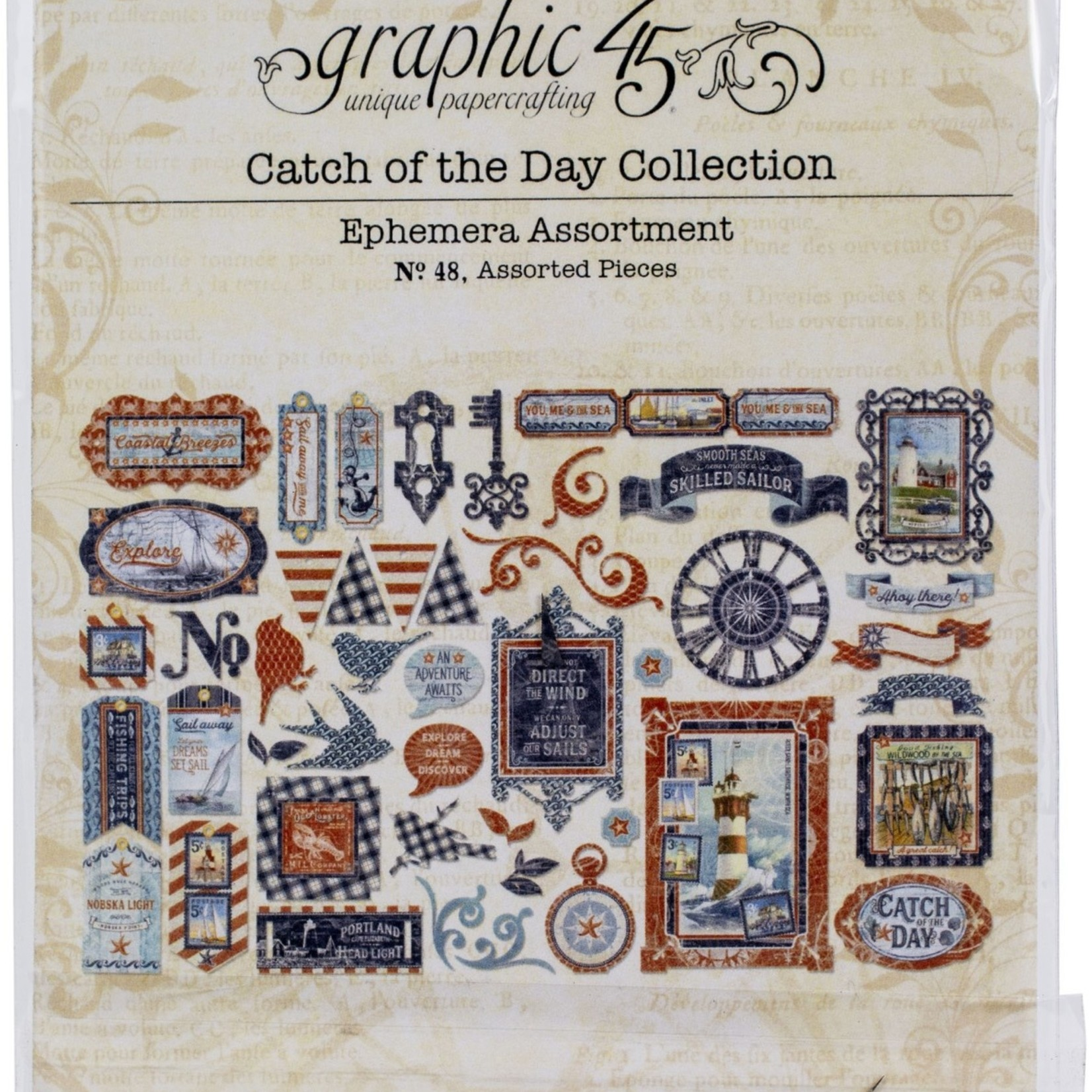 Graphic 45 Catch Of The Day Cardstock Die-Cut Assortment-