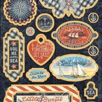 Graphic 45 Catch Of The Day Chipboard Die-Cuts 6''X12'' Sheet-