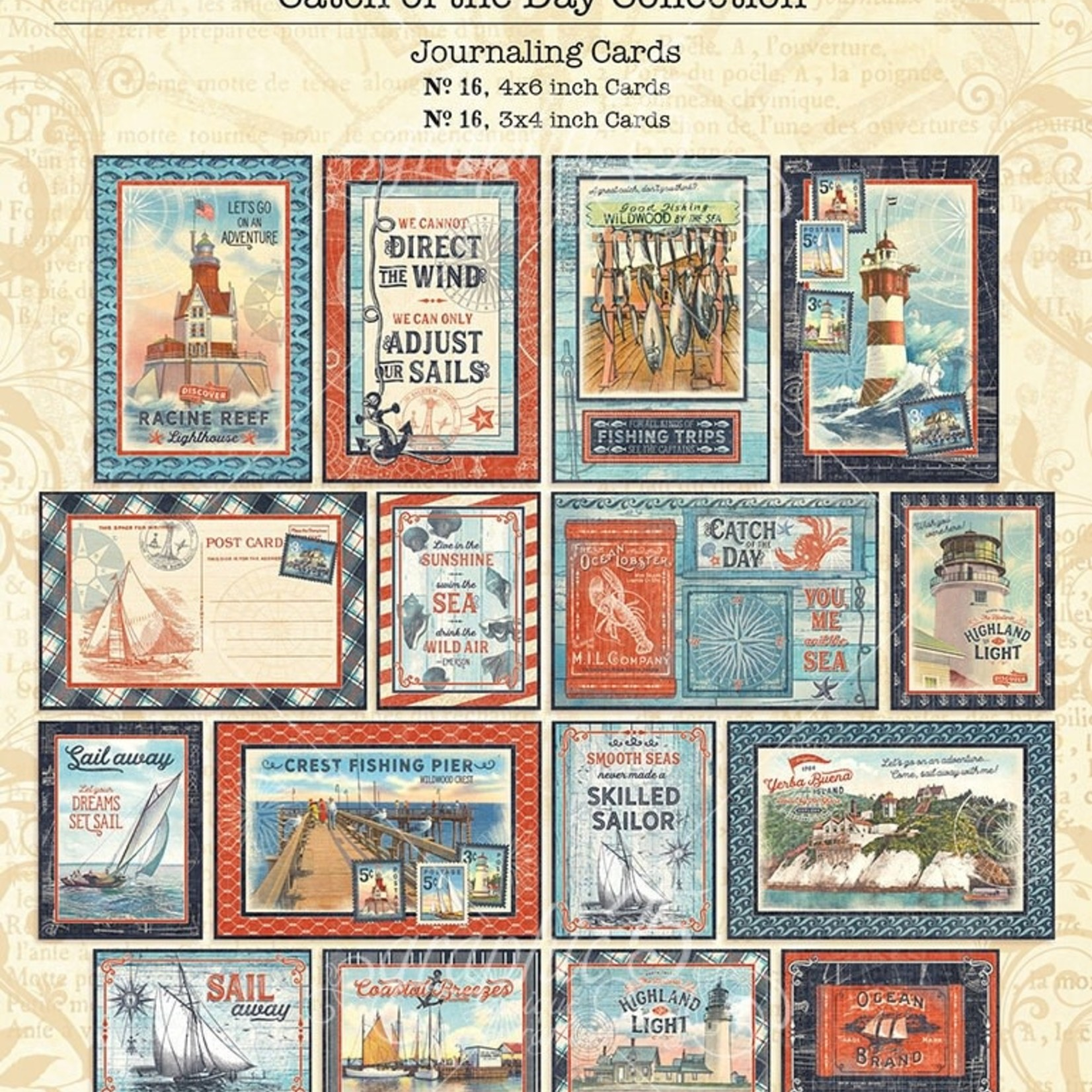 Graphic 45 Catch Of The Day Ephemera & Journaling Cards-