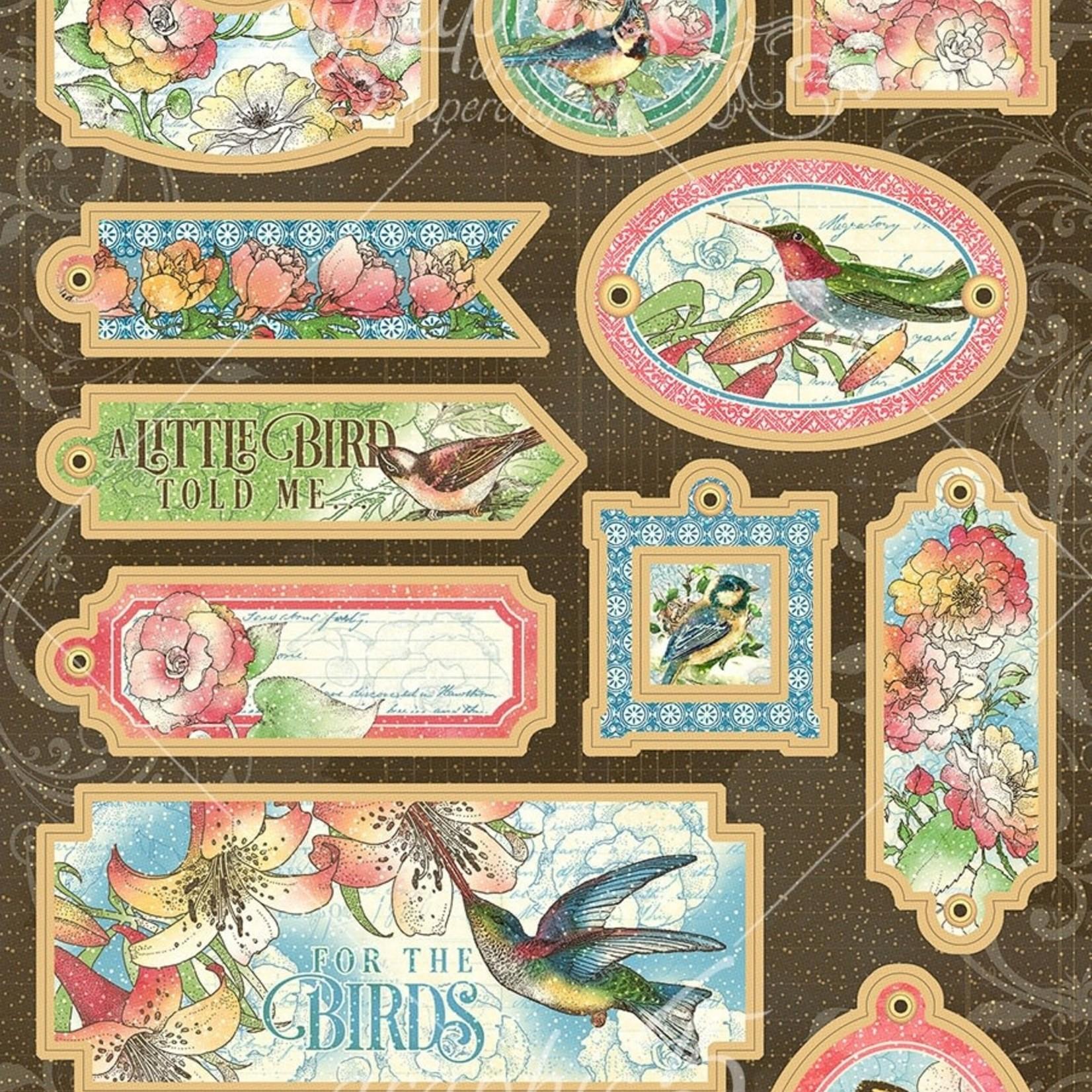 Graphic 45 Bird Watcher Chipboard Die-Cuts 6''X12'' Sheet-