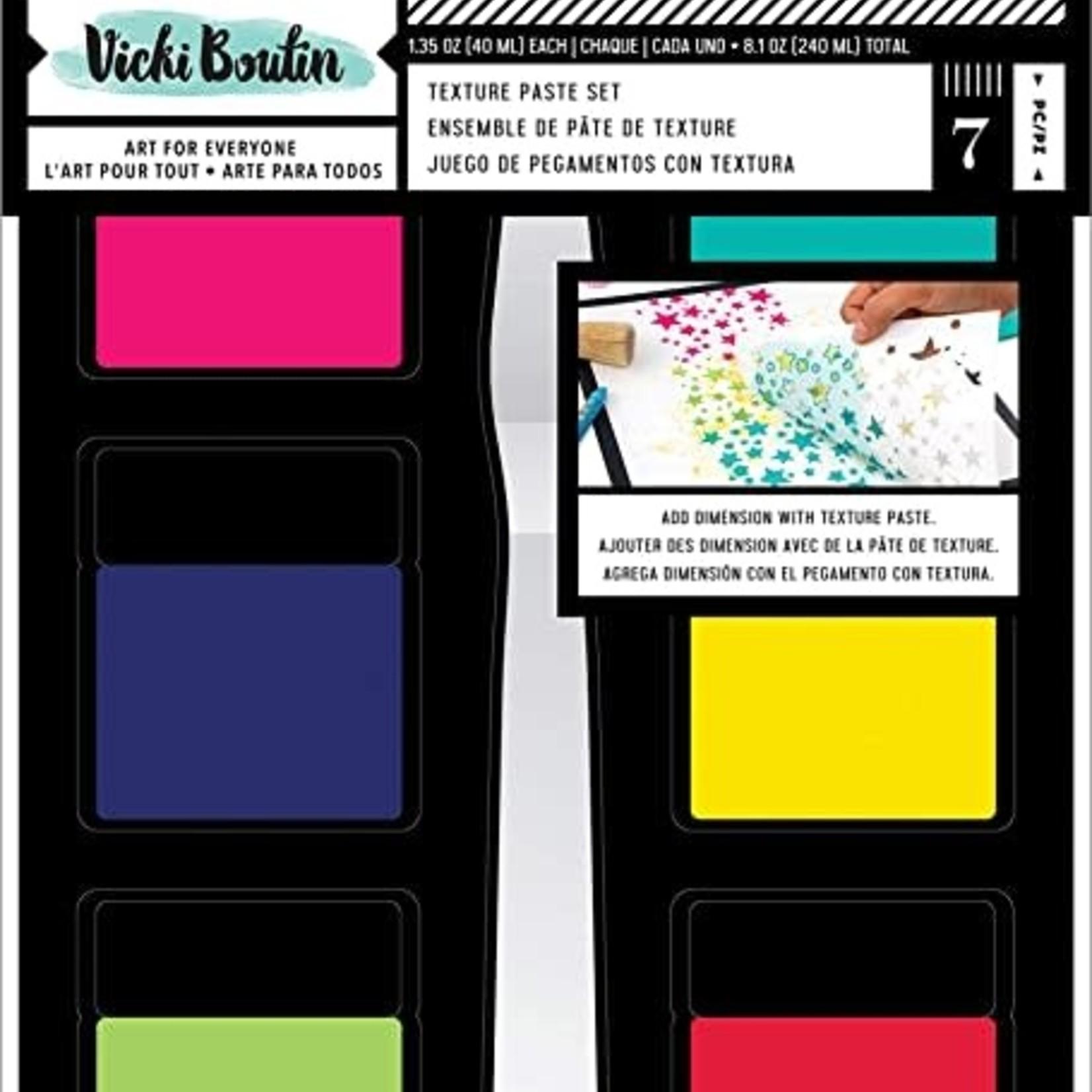 Vicki Boutin Mixed Media Texture Paste Set-(6) Colors & (1) Palette Knife