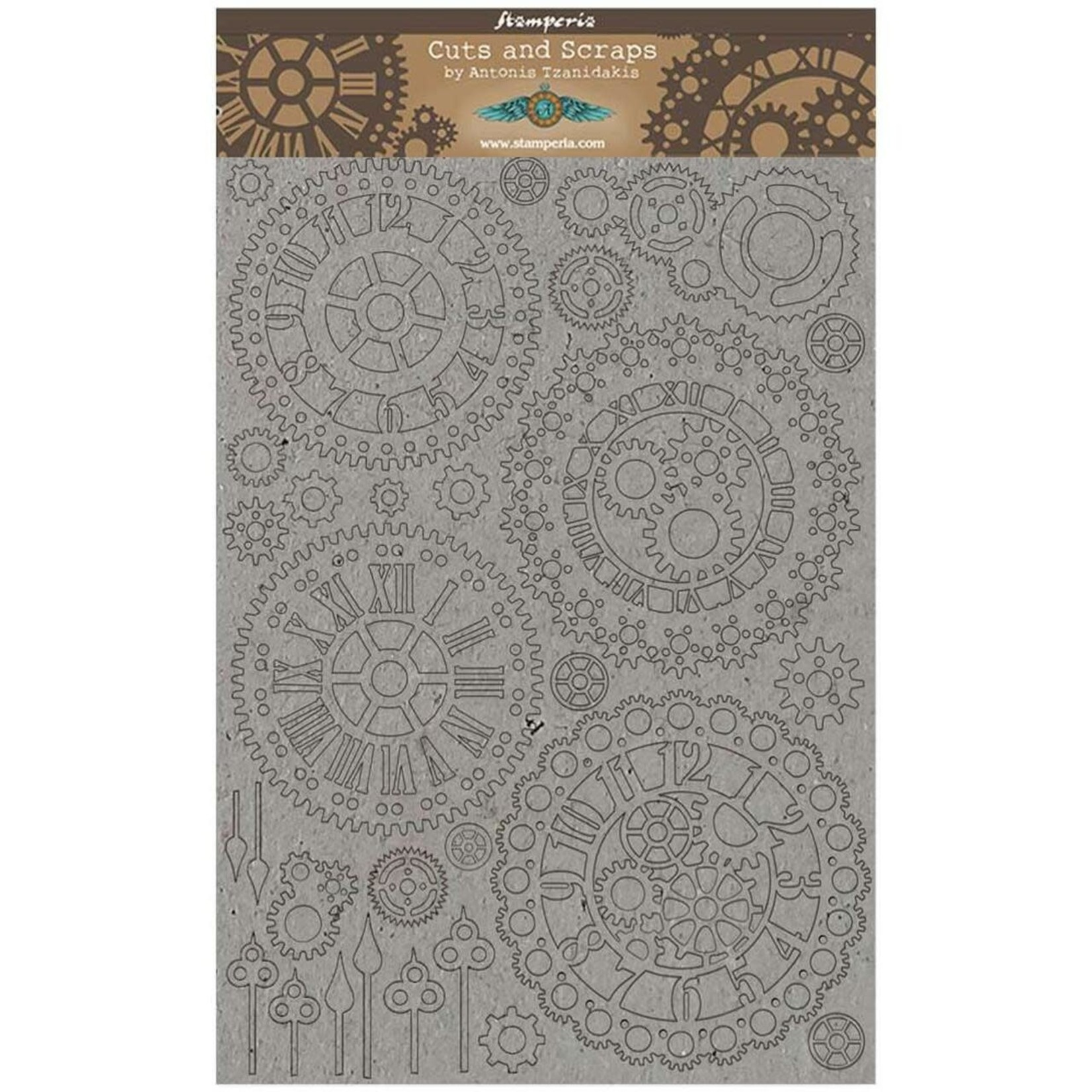 Stamperia Stamperia Greyboard Cut-Outs 2mm Thick-Gears & Clocks Sir Vagabond