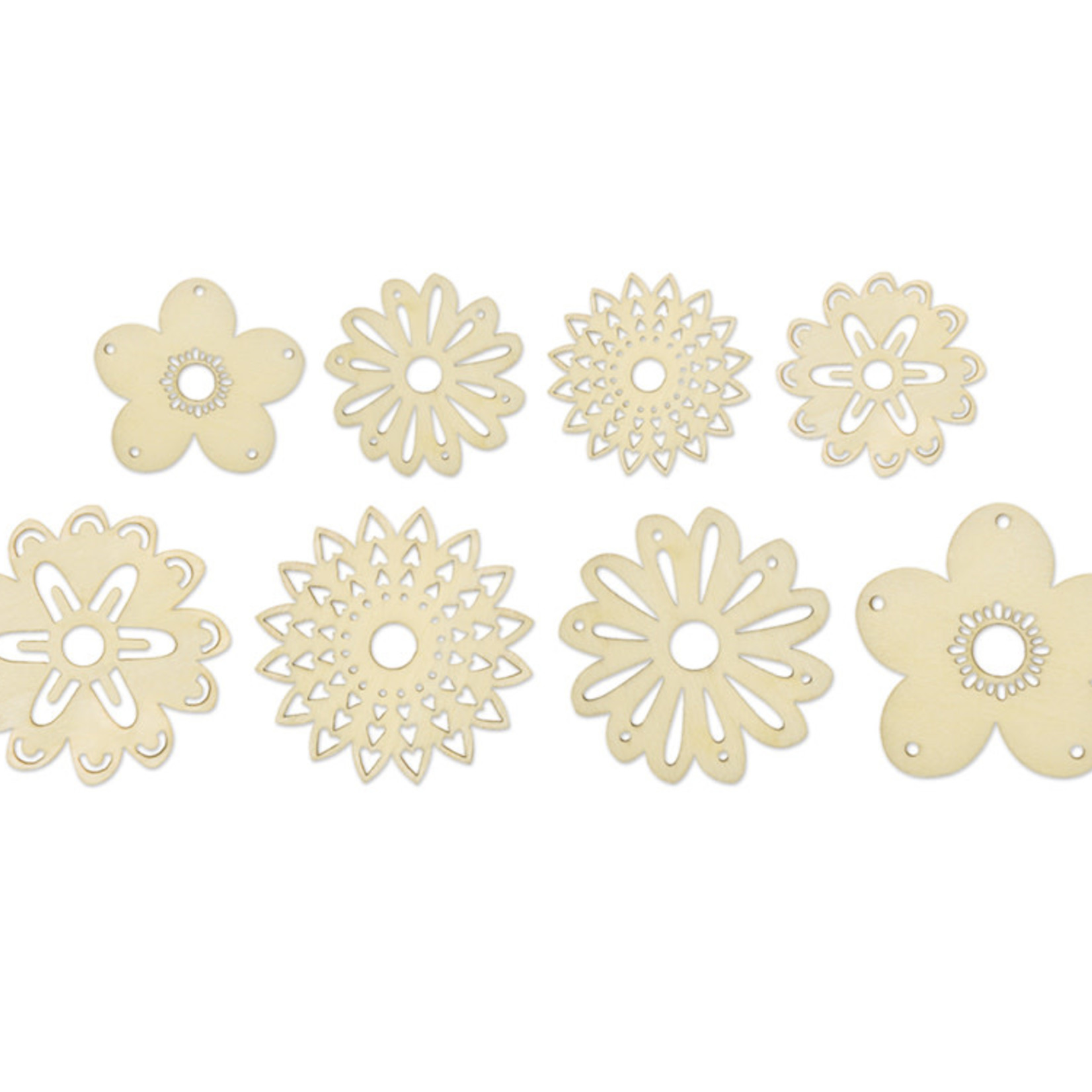 Laser-Cut Wood Shapes - Flowers