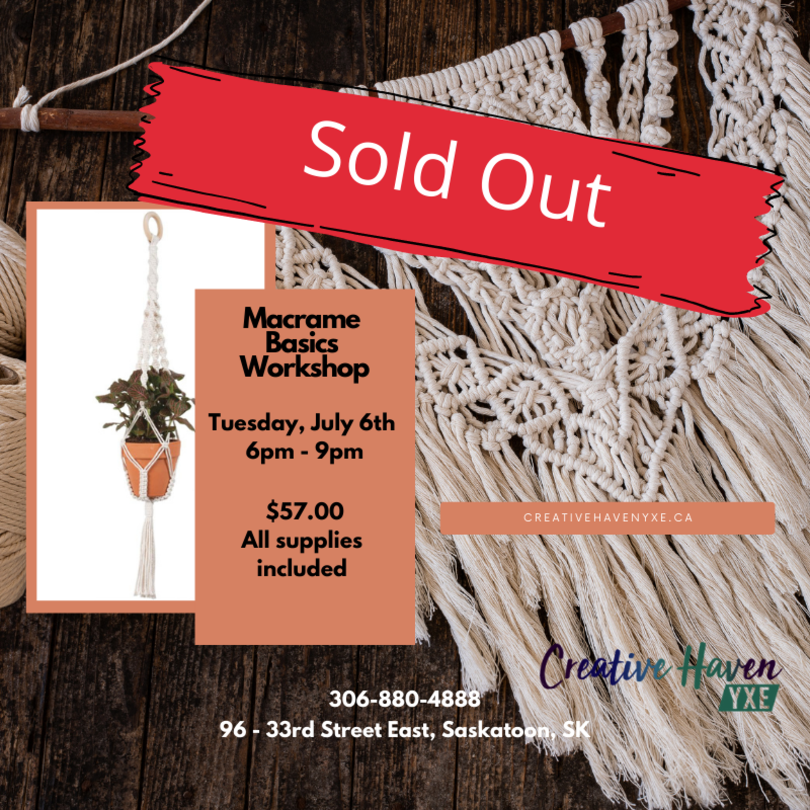 Sold Out - Macrame Basics Workshop - July 6th 6pm-9pm