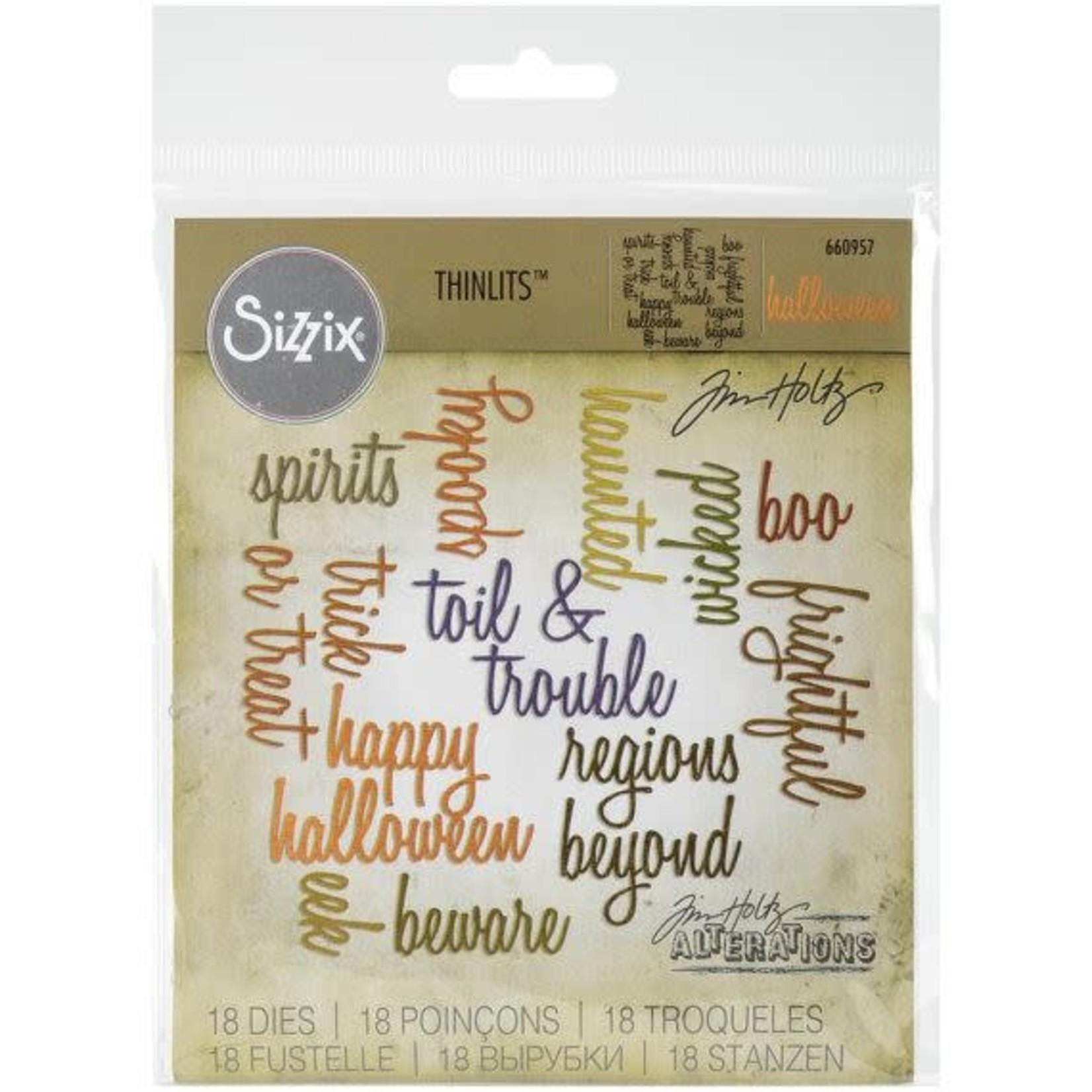 Sizzix Sizzix Thinlits Dies 18/Pkg By Tim Holtz-Halloween Words/Script