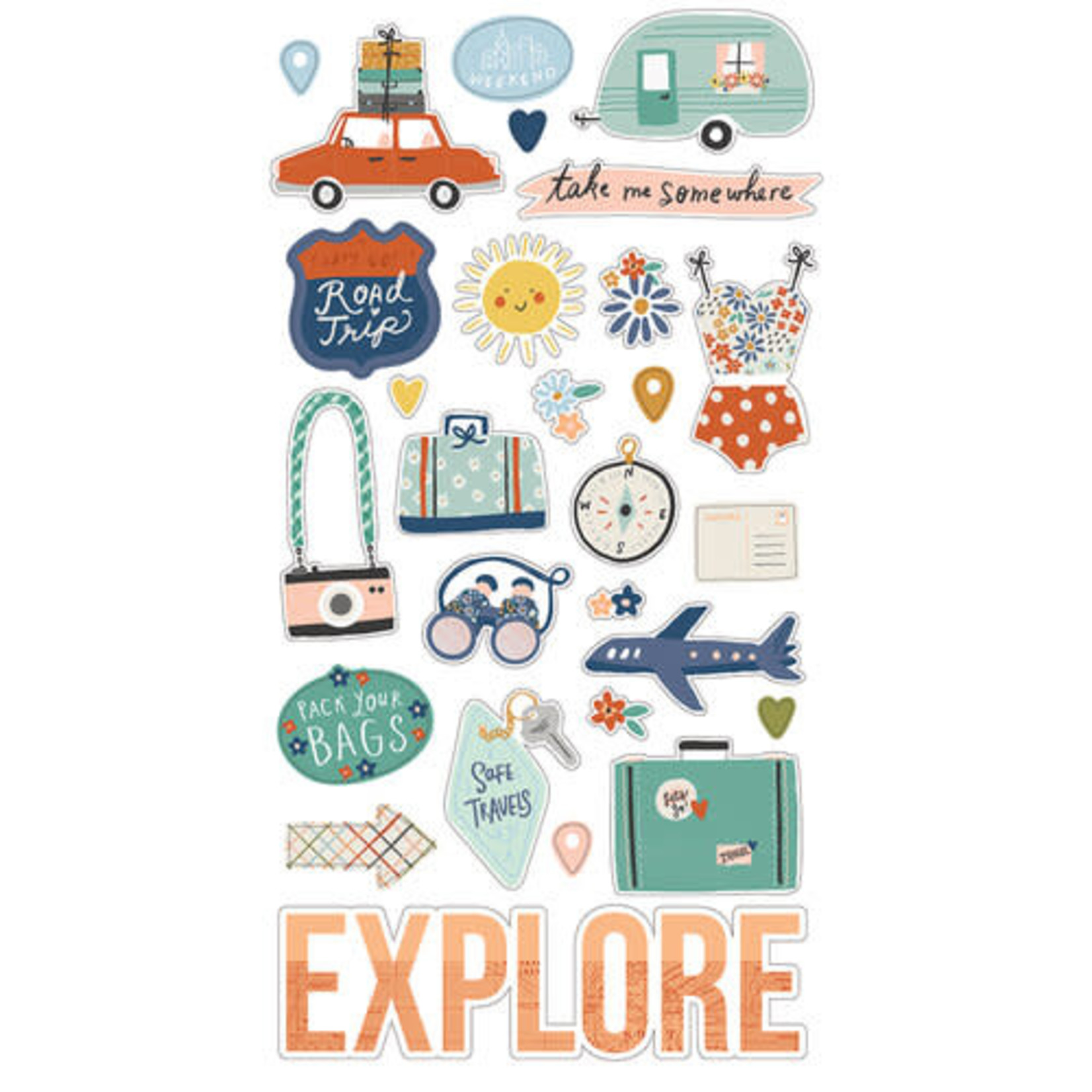 Simple Stories Simple Stories - Chipboard Stickers - Safe Travels