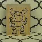 Moose with Tools Stamp