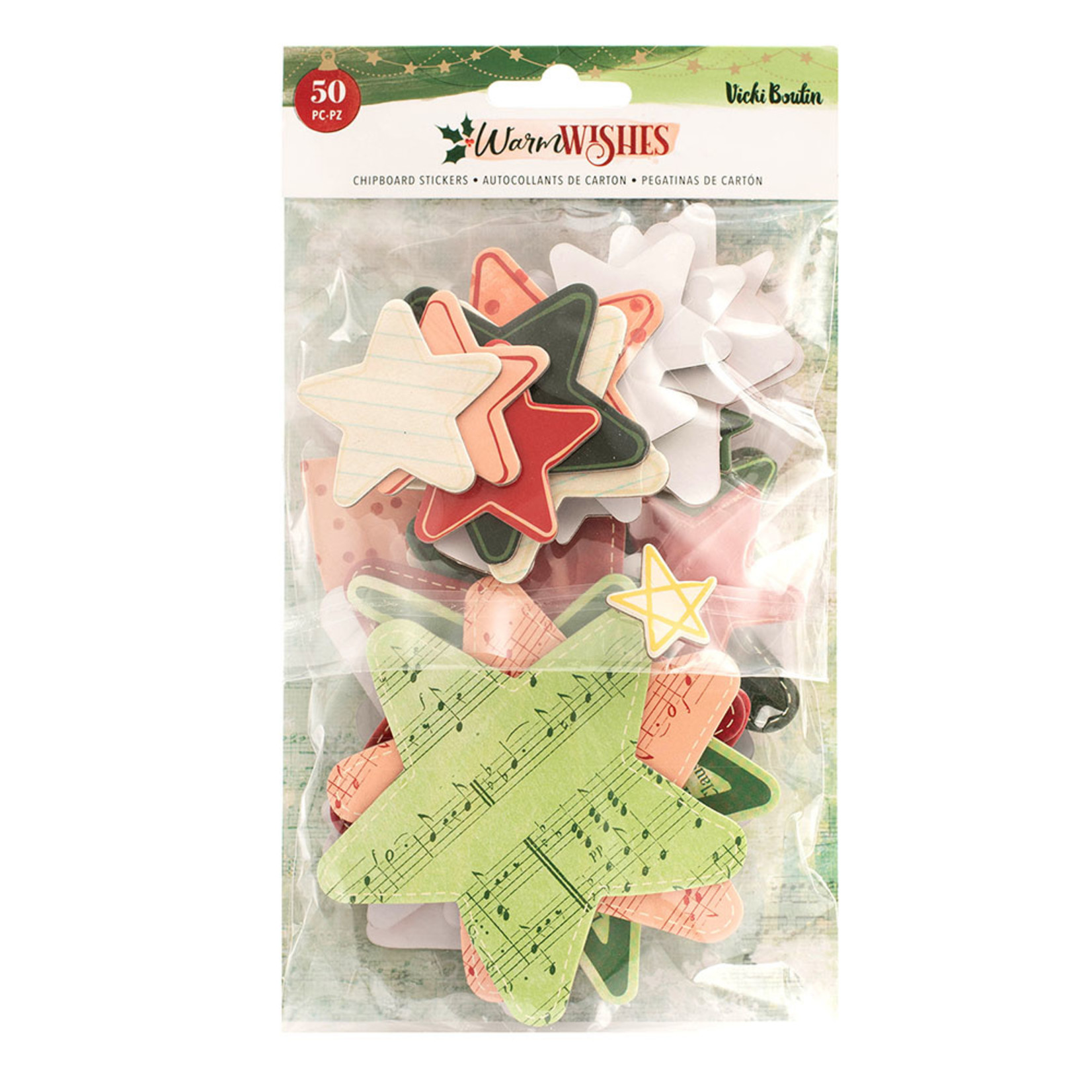 Vicki Boutin Vicki Boutin - Warm Wishes Collection - Christmas - Chipboard Stickers - Stars and Hearts
