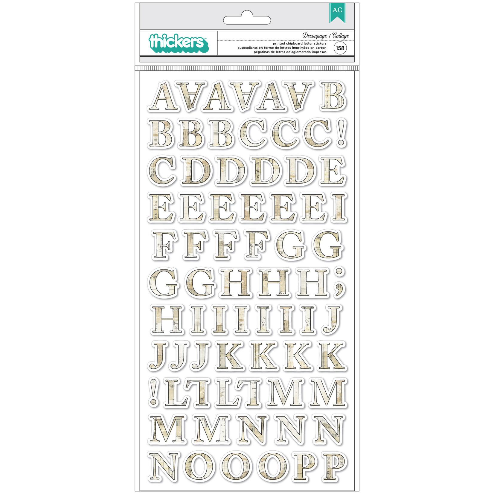 Vicki Boutin Vicki Boutin Storyteller Thickers Stickers 158/Pkg-Decoupage Alpha/Chipboard