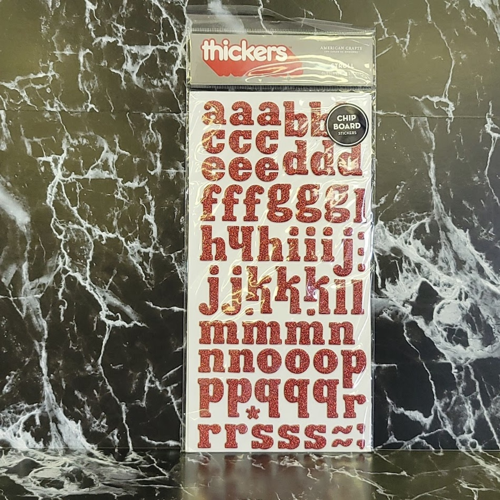 American Crafts thickers - Chipboard Glitter Letter Stickers - Red