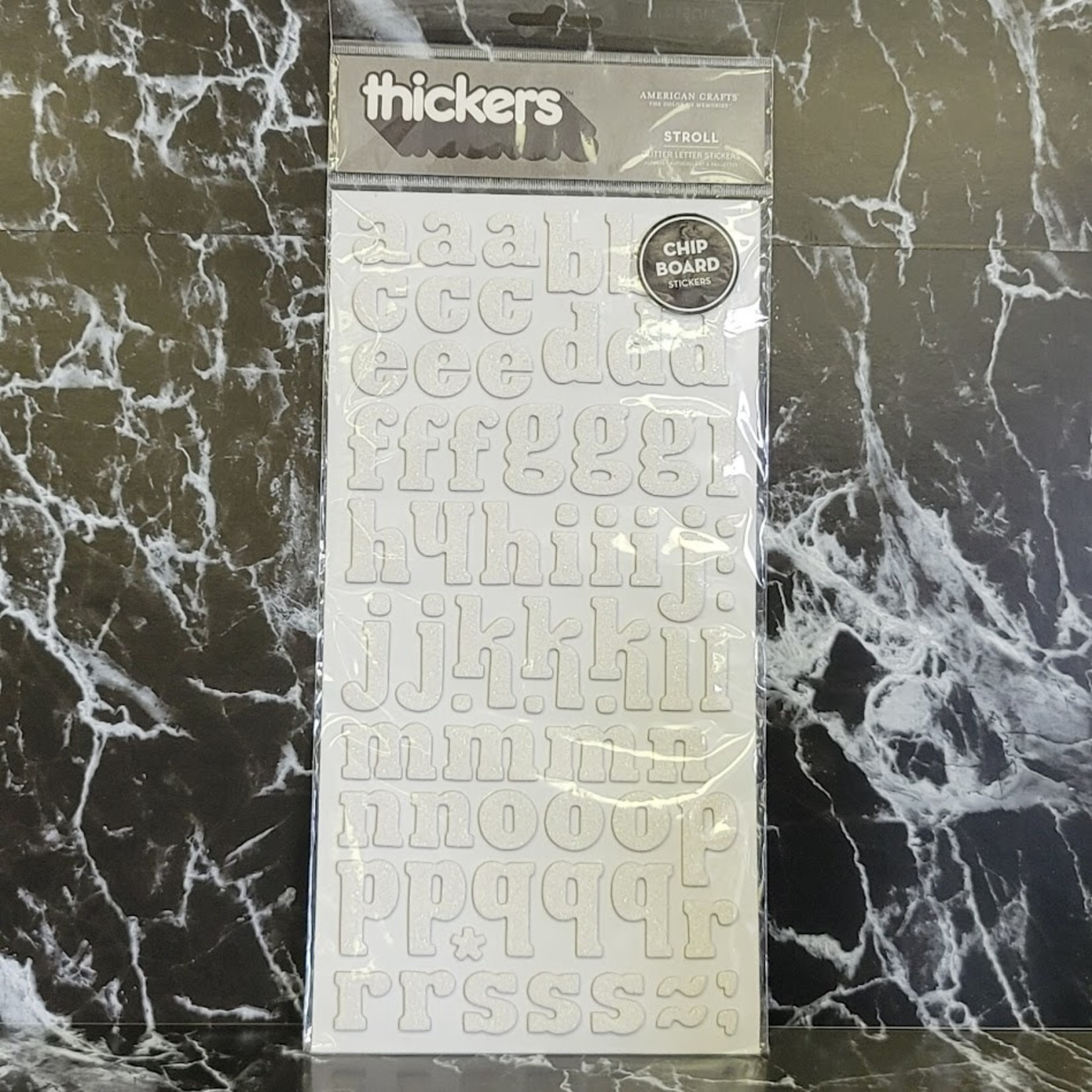 American Crafts thickers - Chipboard Glitter Letter Stickers - White