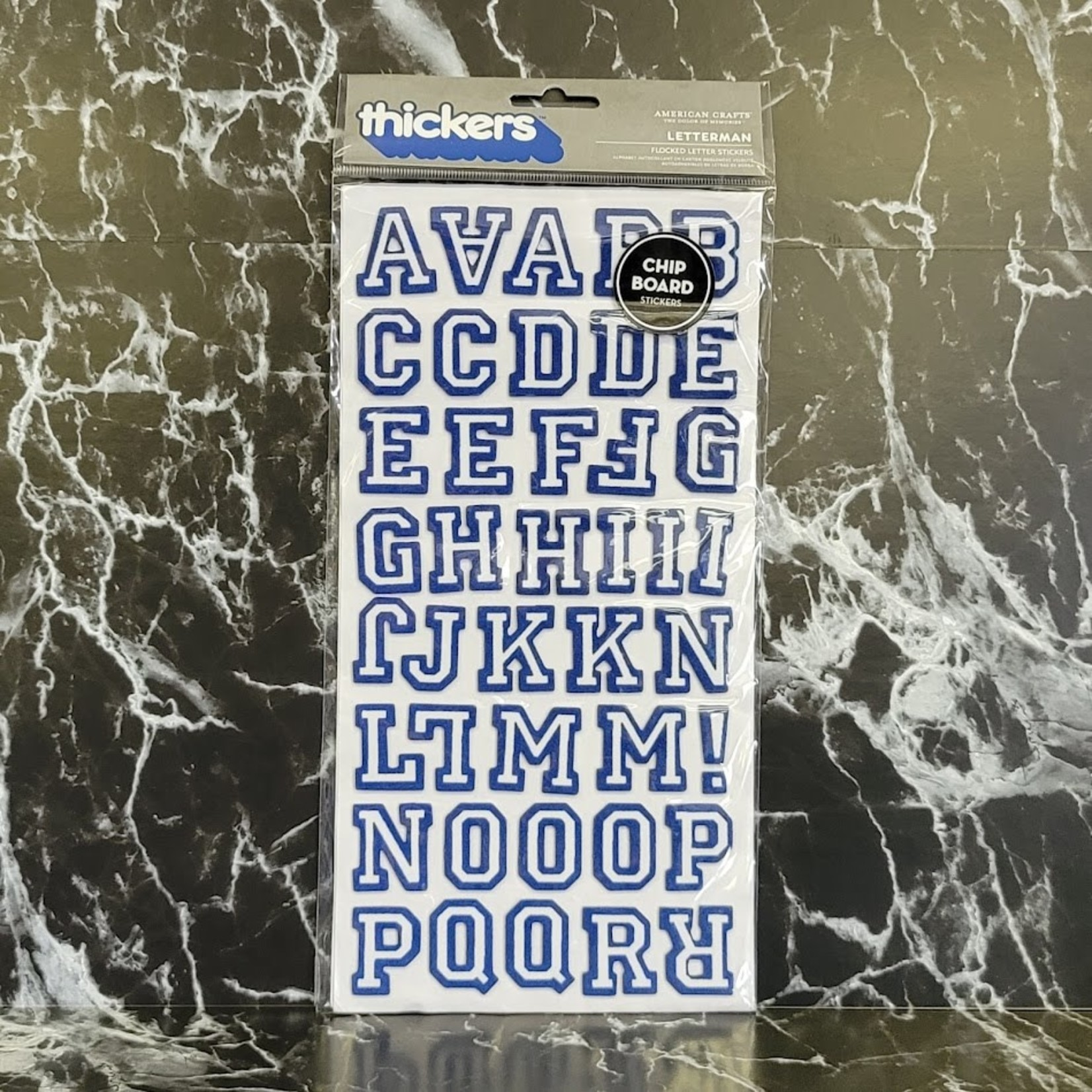 American Crafts thickers - Letterman - Flocked Letter Stickers - Chipboard - Blue