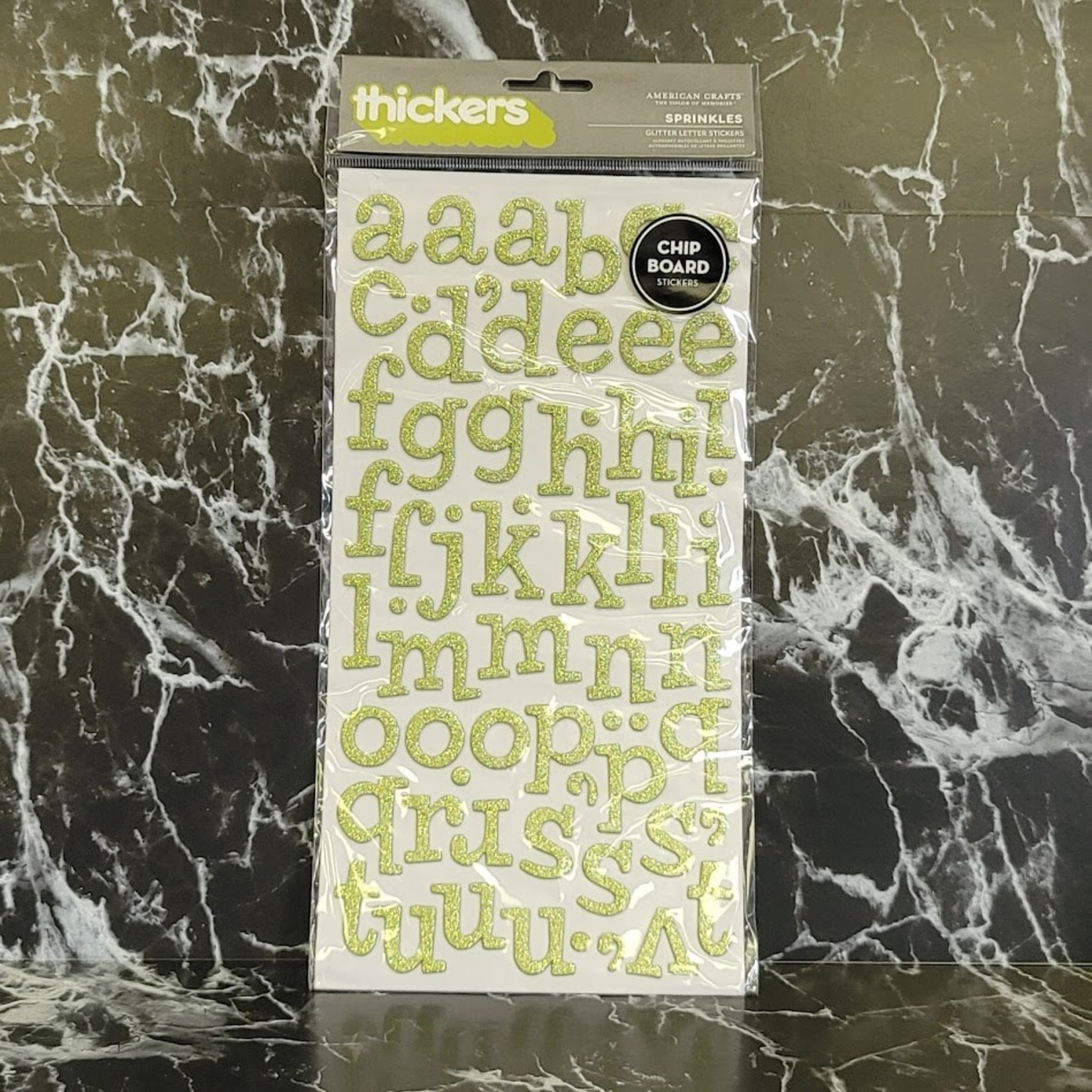 American Crafts thickers - Sprinkles - Glitter Letter Stickers - Chipboard - Green