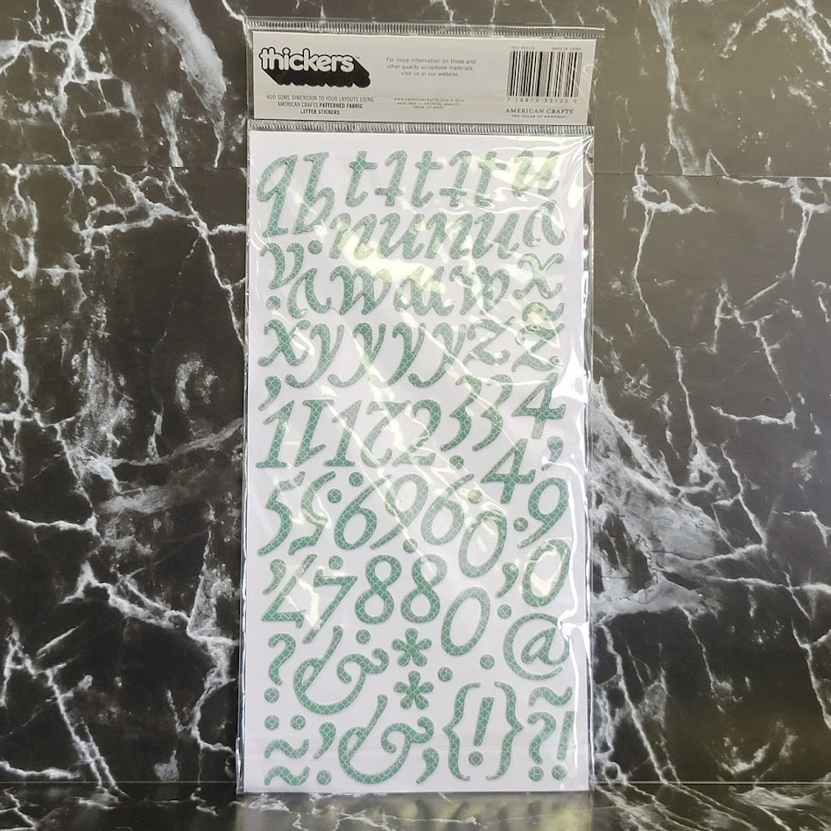 American Crafts thickers-Paperback-Printed Fabric Letter Stickers - Green