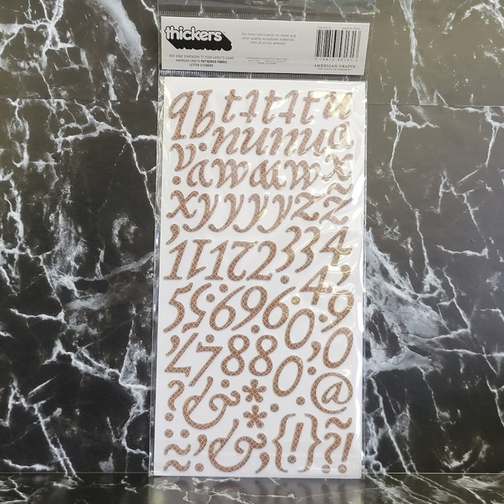 American Crafts thickers-Paperback-Printed Fabric Letter Stickers - Brown