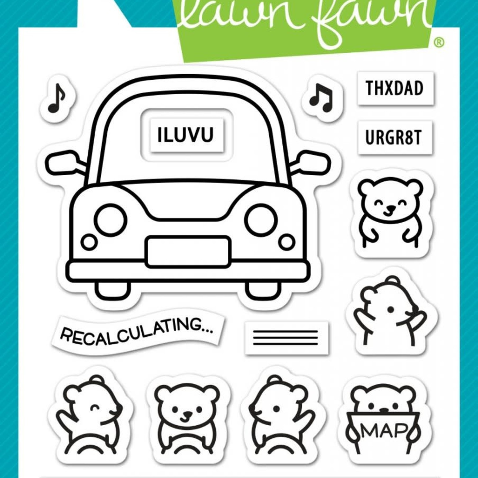 """Lawn Fawn Lawn Fawn Clear Stamps 3""""X4""""-Car Critters"""