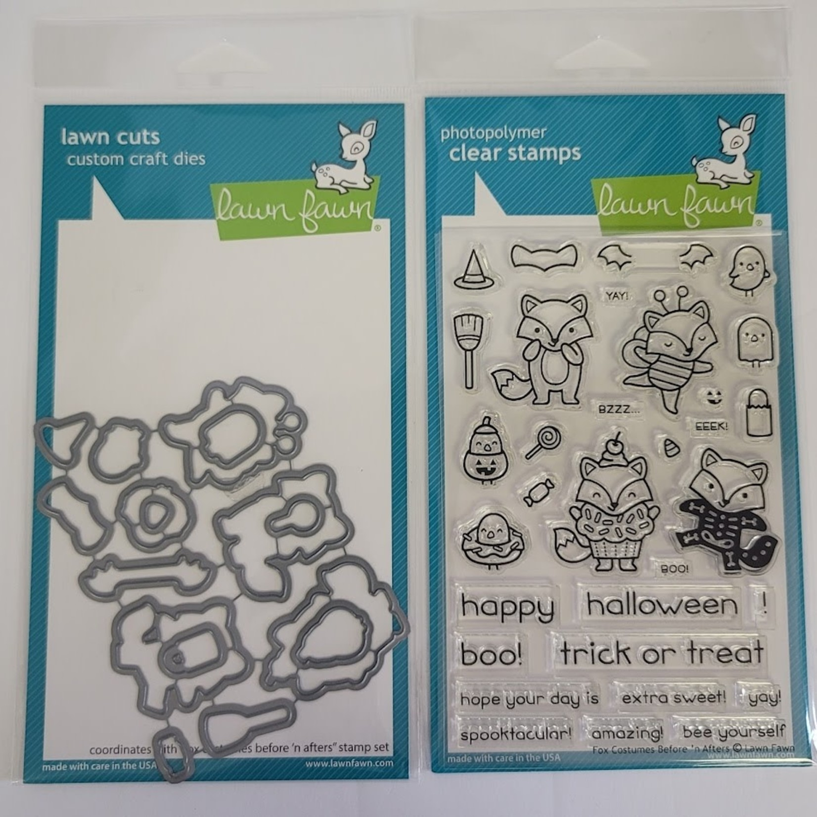 Lawn Fawn Fox Costumes Befor'n After - Stamp and Die Set