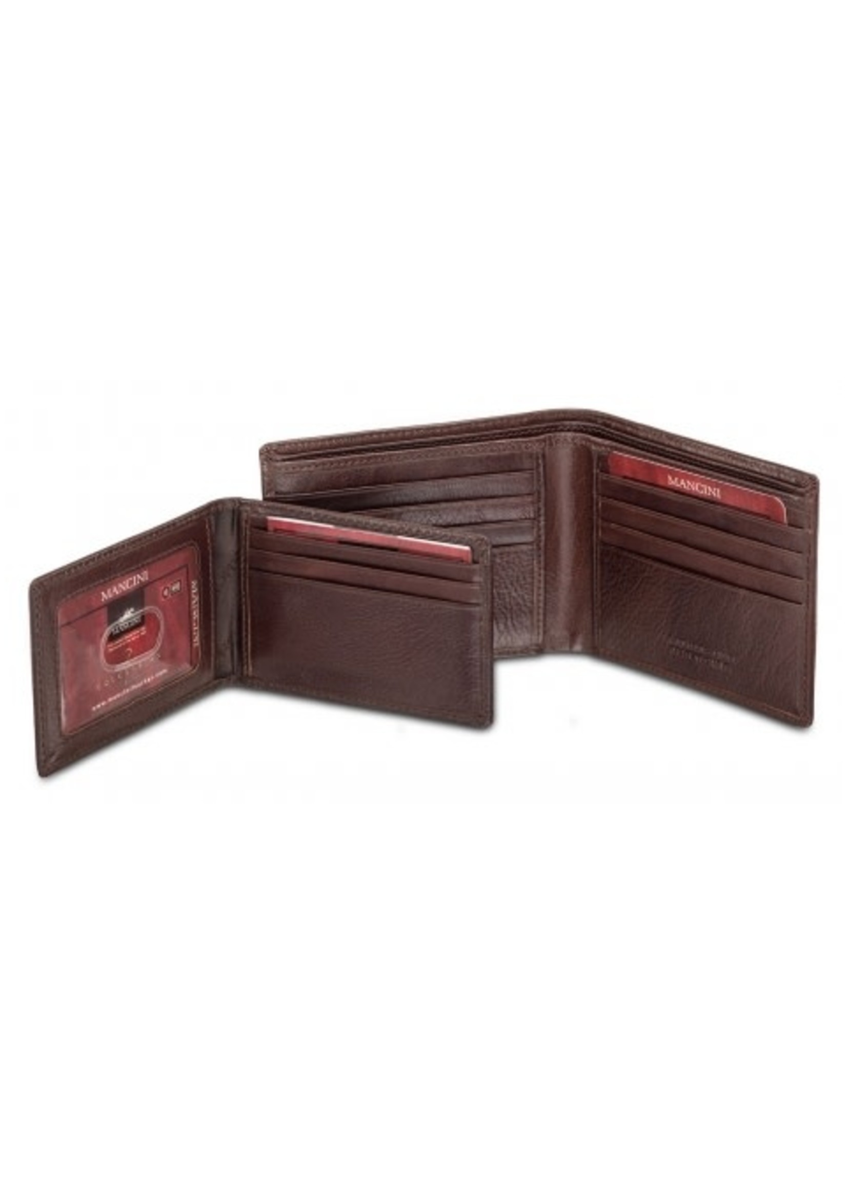Mancini Men`s RFID Secure Billfold with Removable Passcase - Brown