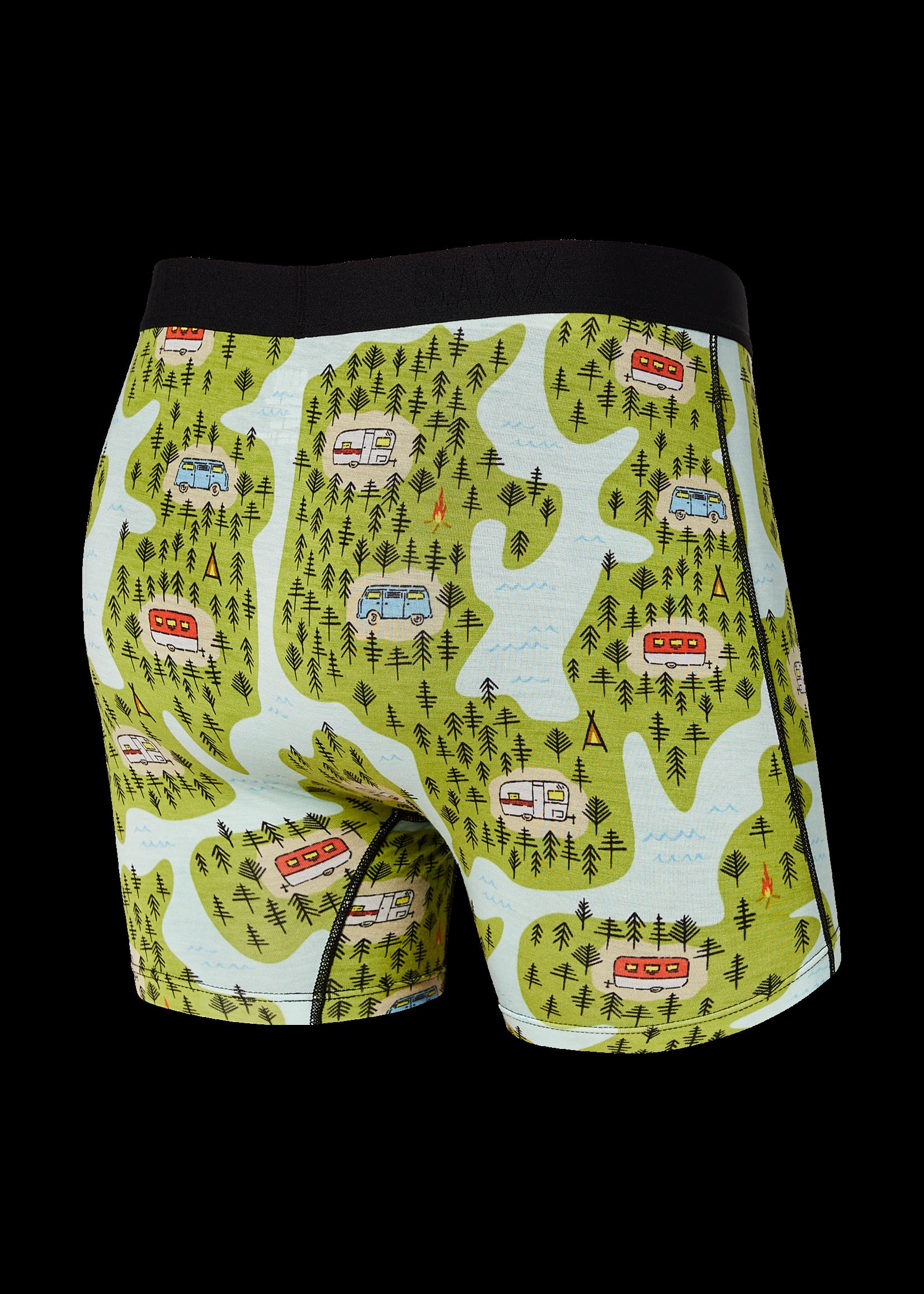 """SAXX SAXX - """"Green Happy Camper"""" Vibe Boxer Brief"""