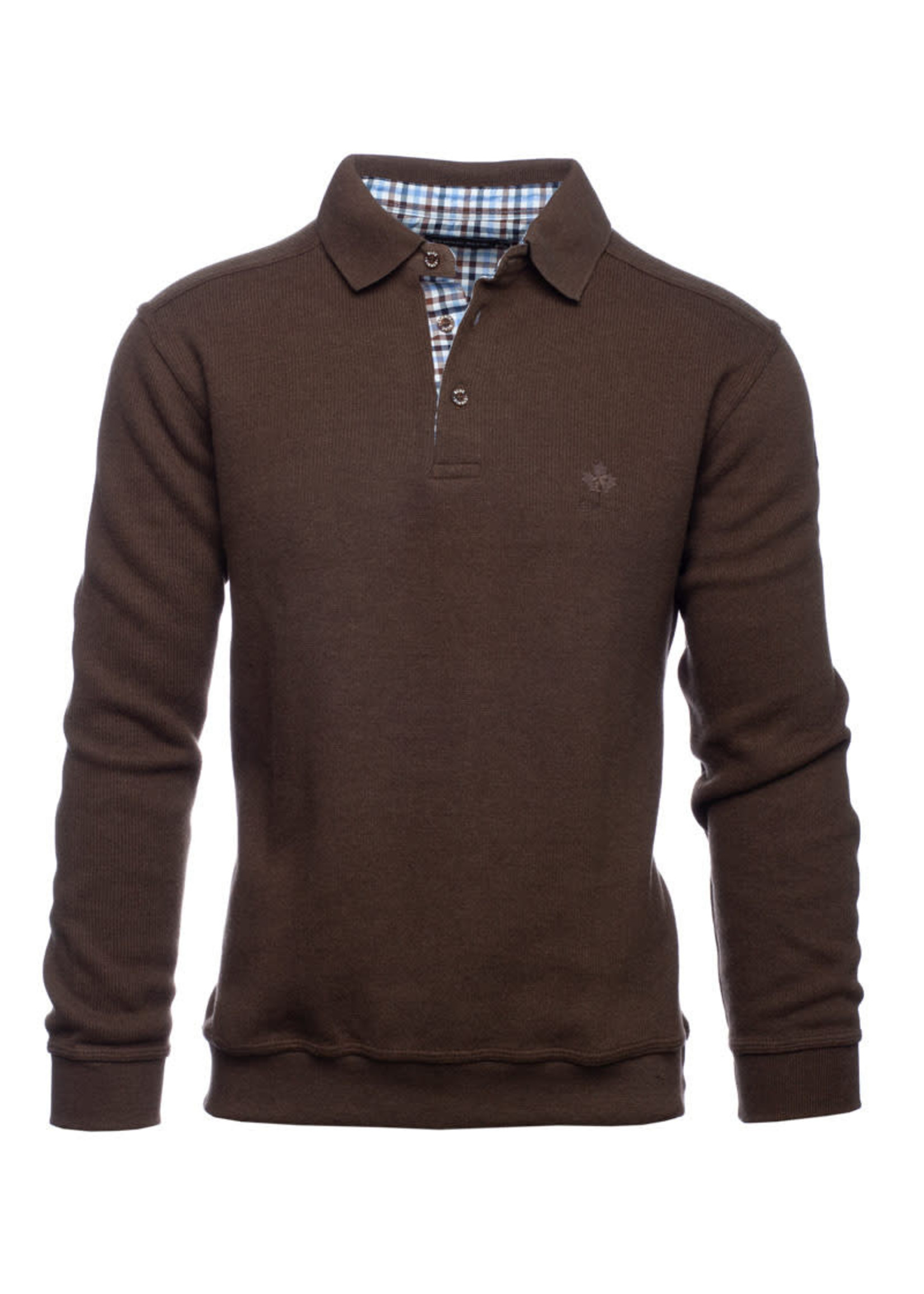 """Ethnic Blue Men's """"Milky Coffee"""" Soft Touch Long Sleeve Polo  by Ethnic Blue"""