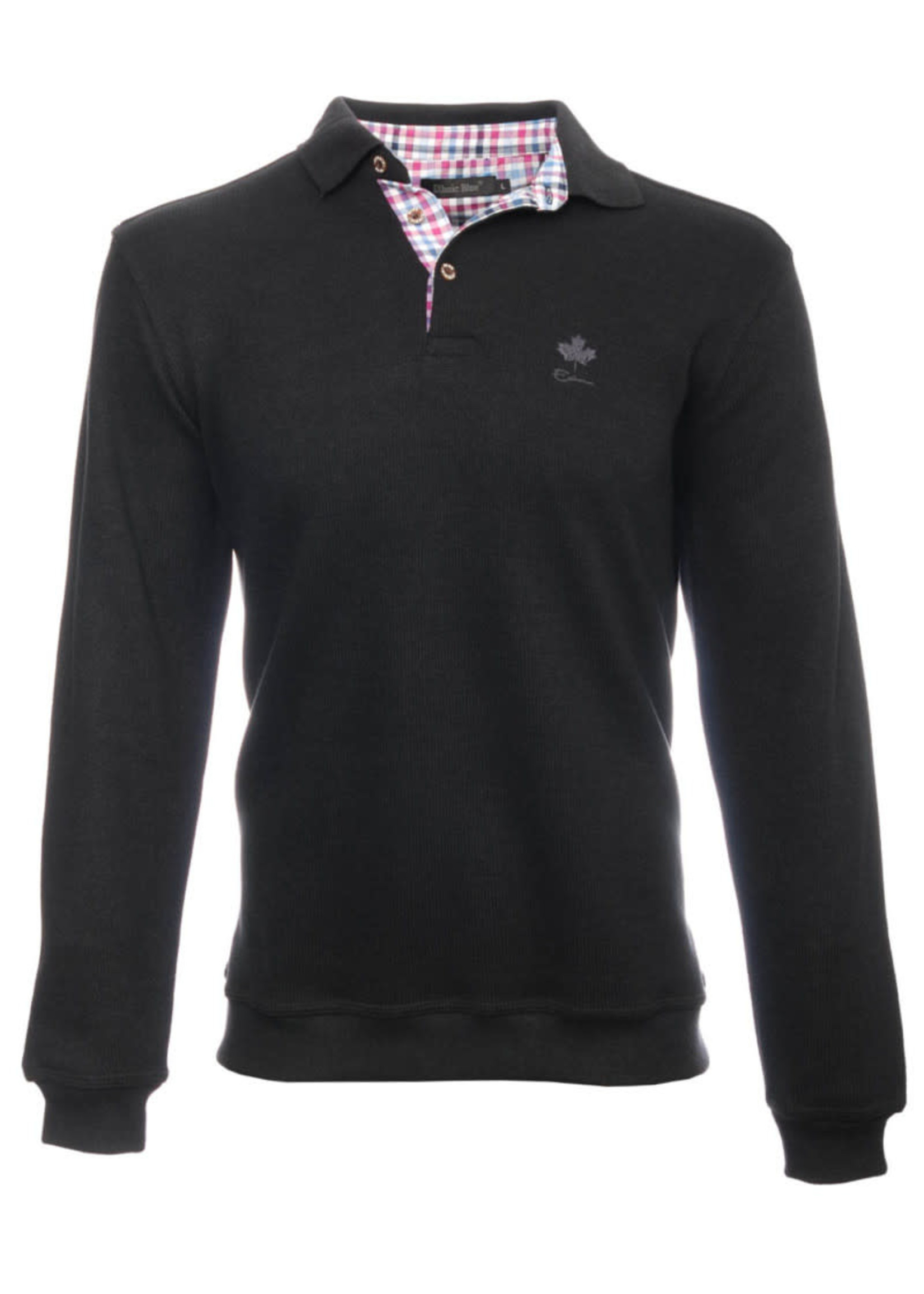 """Ethnic Blue Men's """"Black"""" Soft Touch Long Sleeve Polo  by Ethnic Blue"""