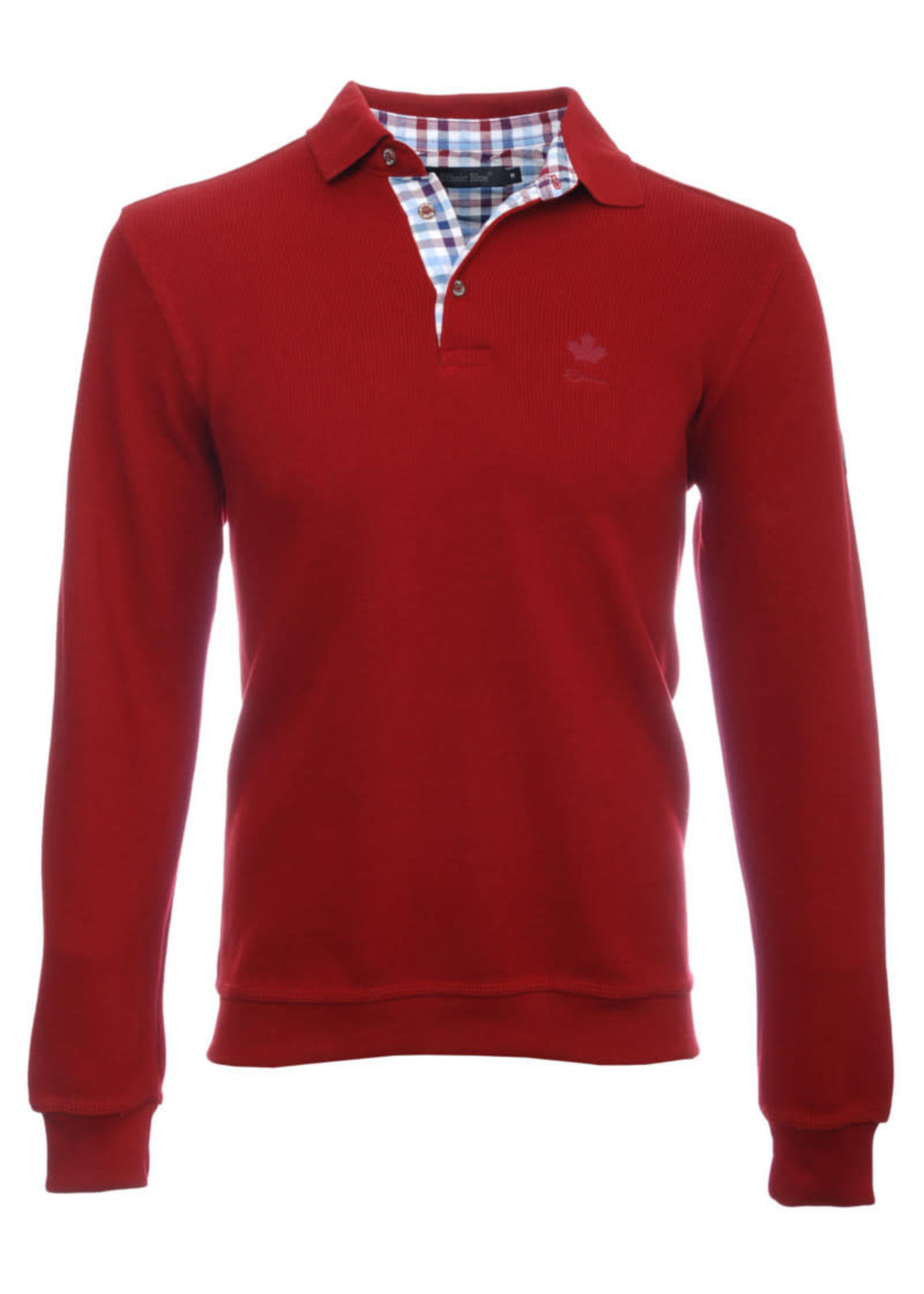 """Ethnic Blue Men's """"Ture Red"""" Soft Touch Long Sleeve Polo  by Ethnic Blue"""