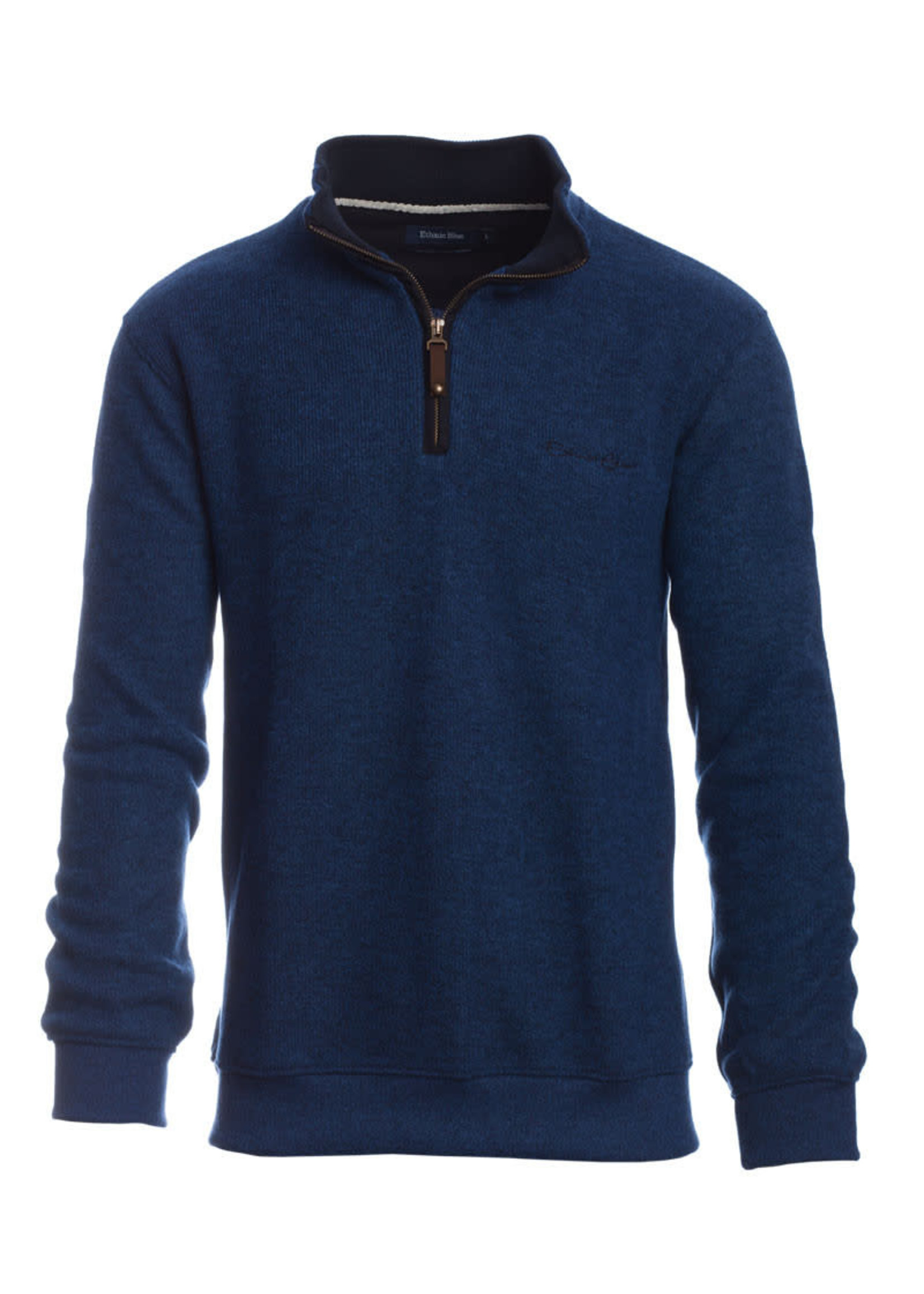 """Ethnic Blue Men's """"Blue Grey"""" Soft Touch Zip Neck Sweater by Ethnic Blue"""