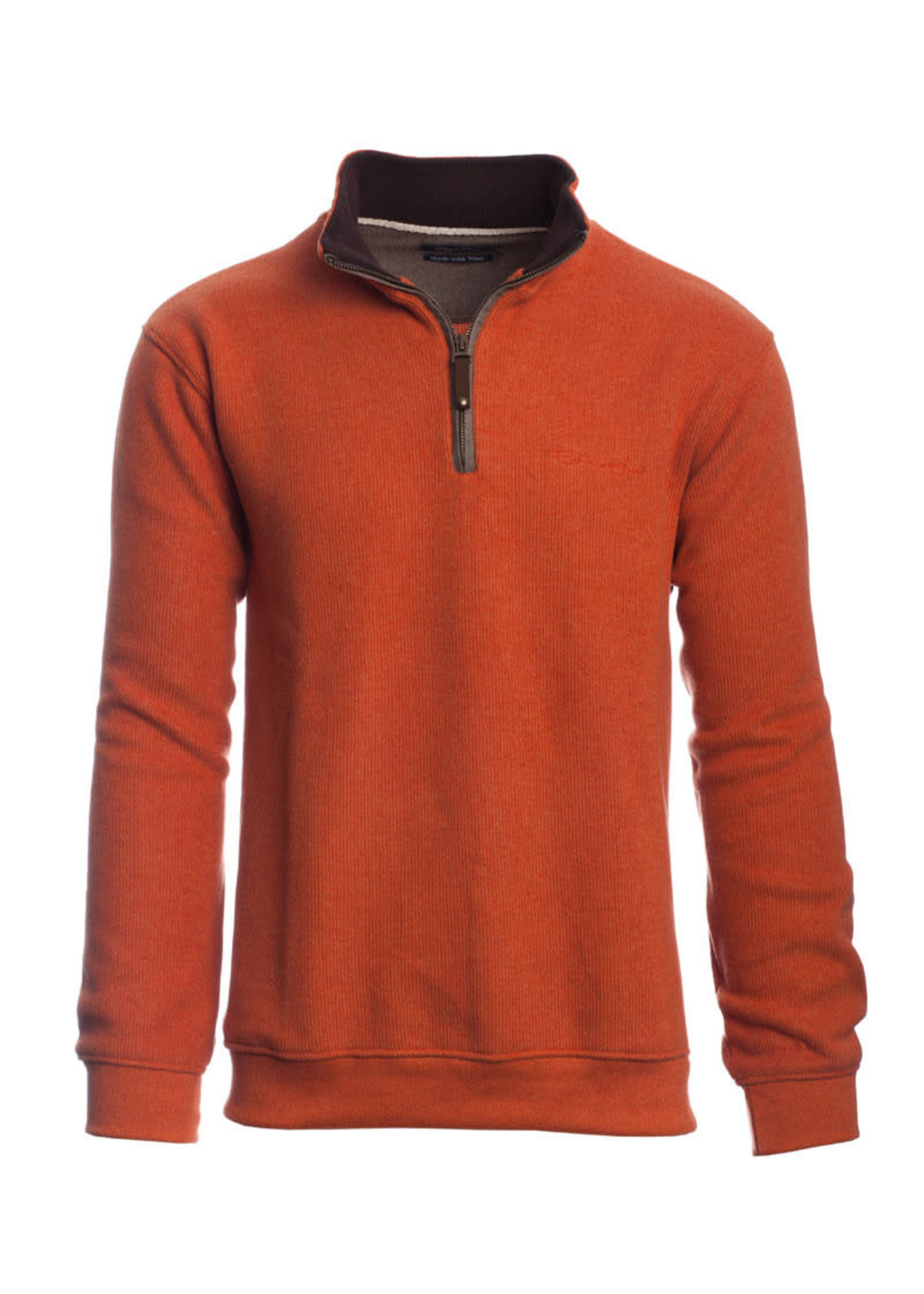 """Ethnic Blue Men's """"Rustic Orange"""" Soft Touch Zip Neck Sweater by Ethnic Blue"""