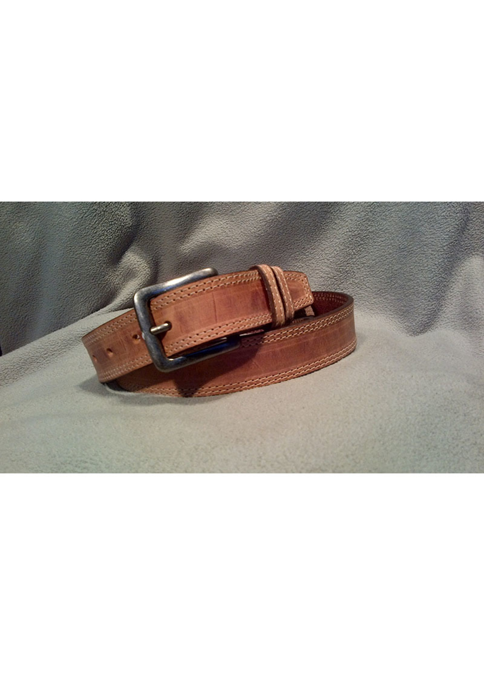 Europe Dezines Europa Dezines - Double Stitched Tan Leather Belt