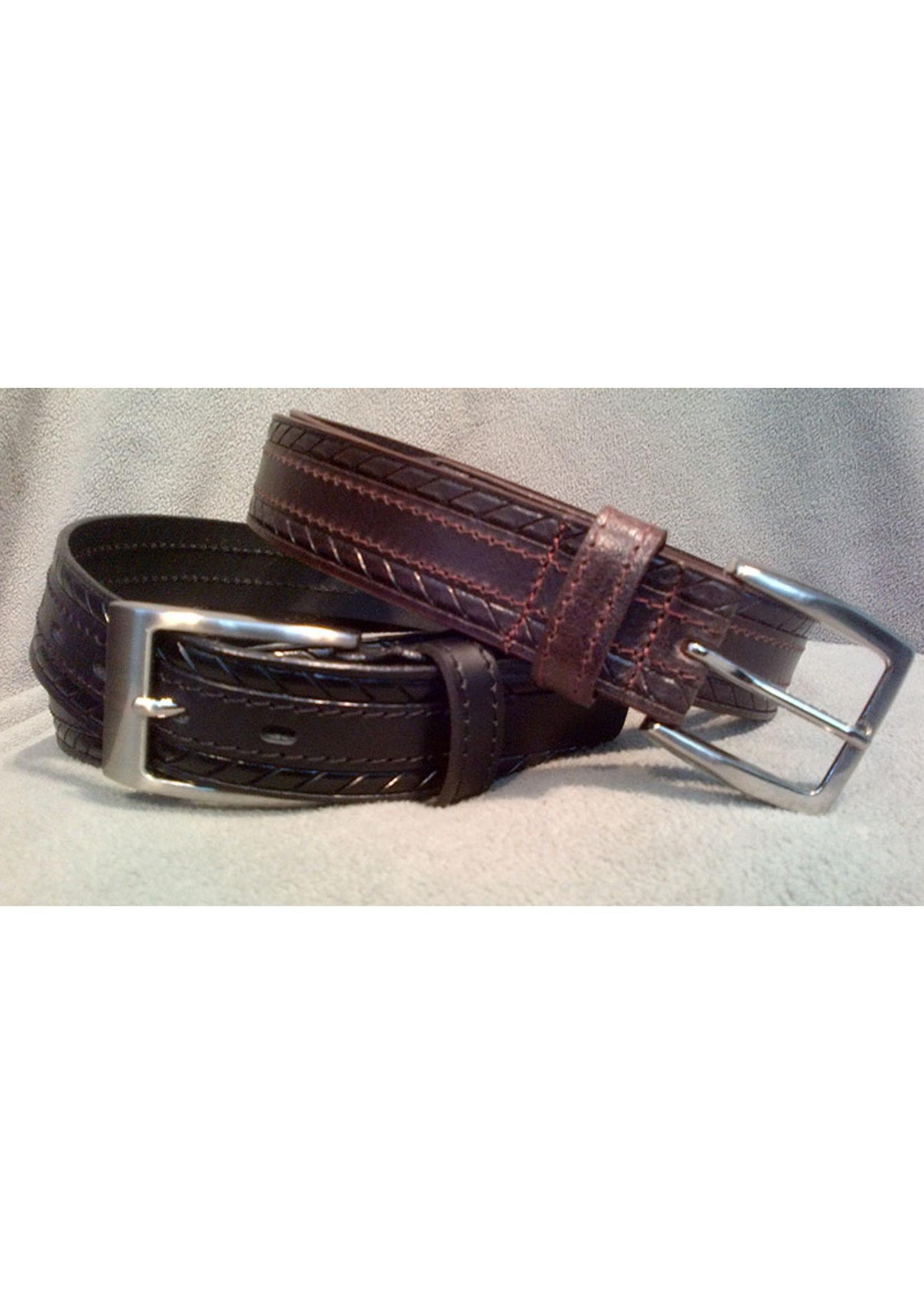 "Europa Dezines Europa Dezines ""Embossed & Stitched"" Genuine Leather Belt"