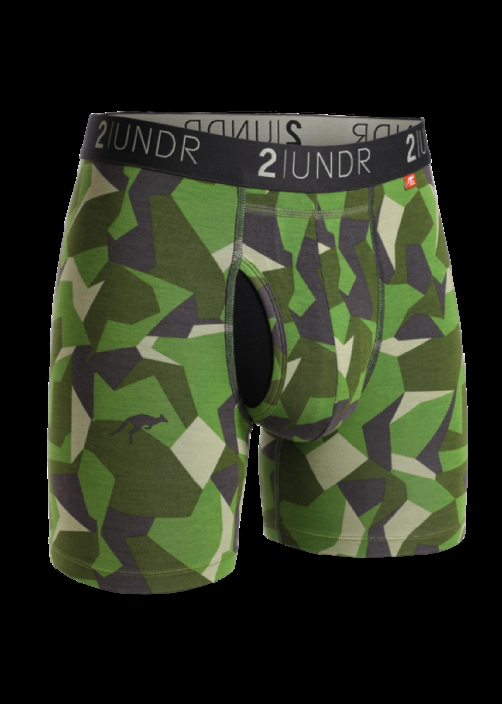 """2UNDR 2UNDR's """"Green Camo"""" Swing Shift Boxer Brief"""