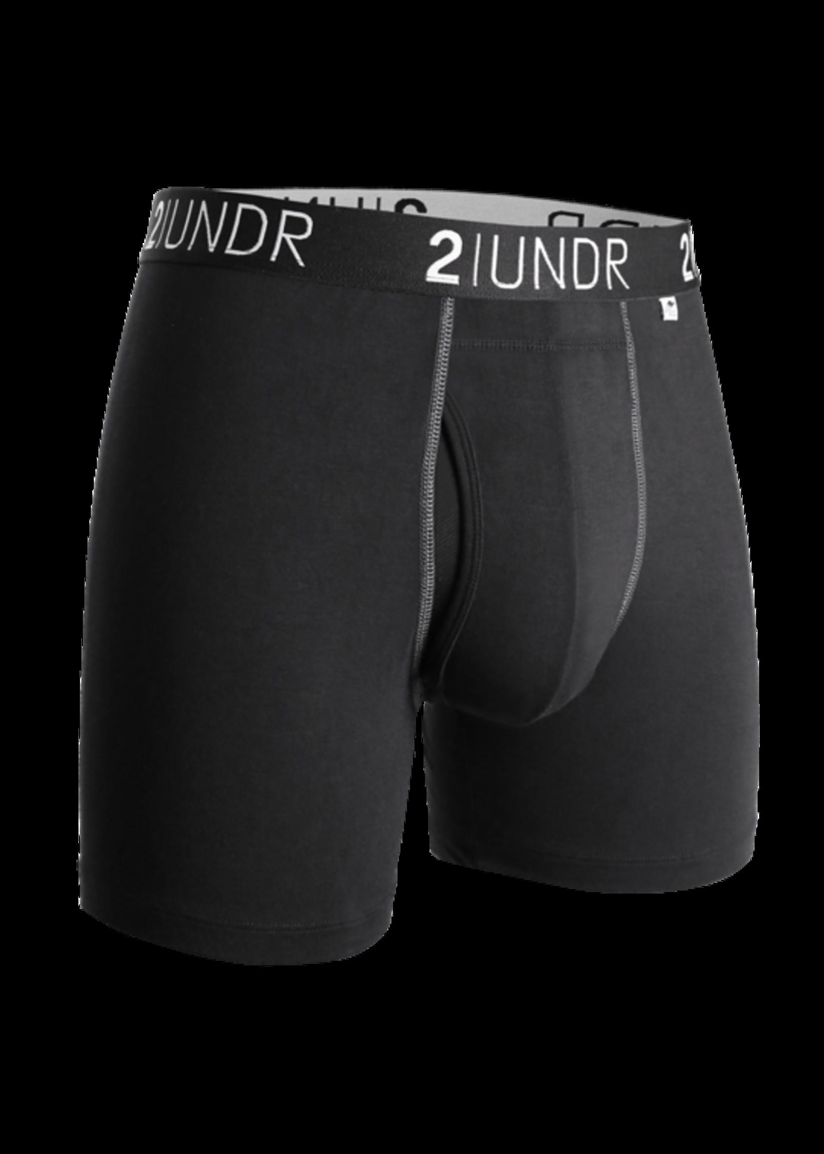 "2UNDR 2UNDR's ""Black/ Grey"" Swing Shift Boxer Brief"