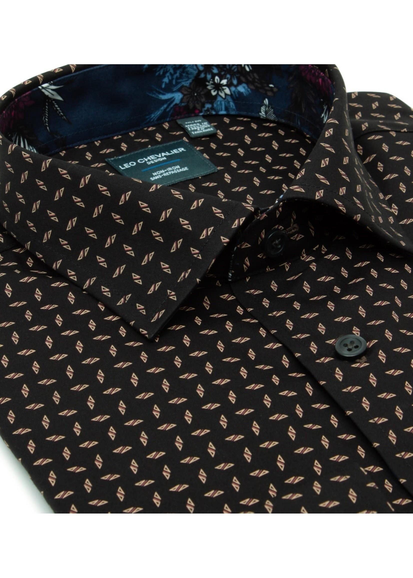 Leo Chevalier Leo Chevalier Men's 100% Cotton Non-Iron Spread Collar Sport Shirt