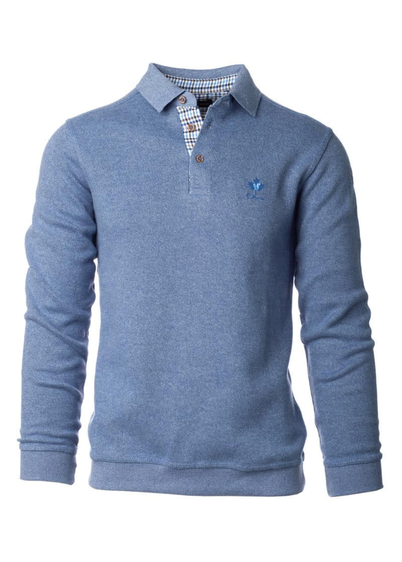 """Ethnic Blue Men's """"Blue Grey"""" Soft Touch Long Sleeve Polo  by Ethnic Blue"""