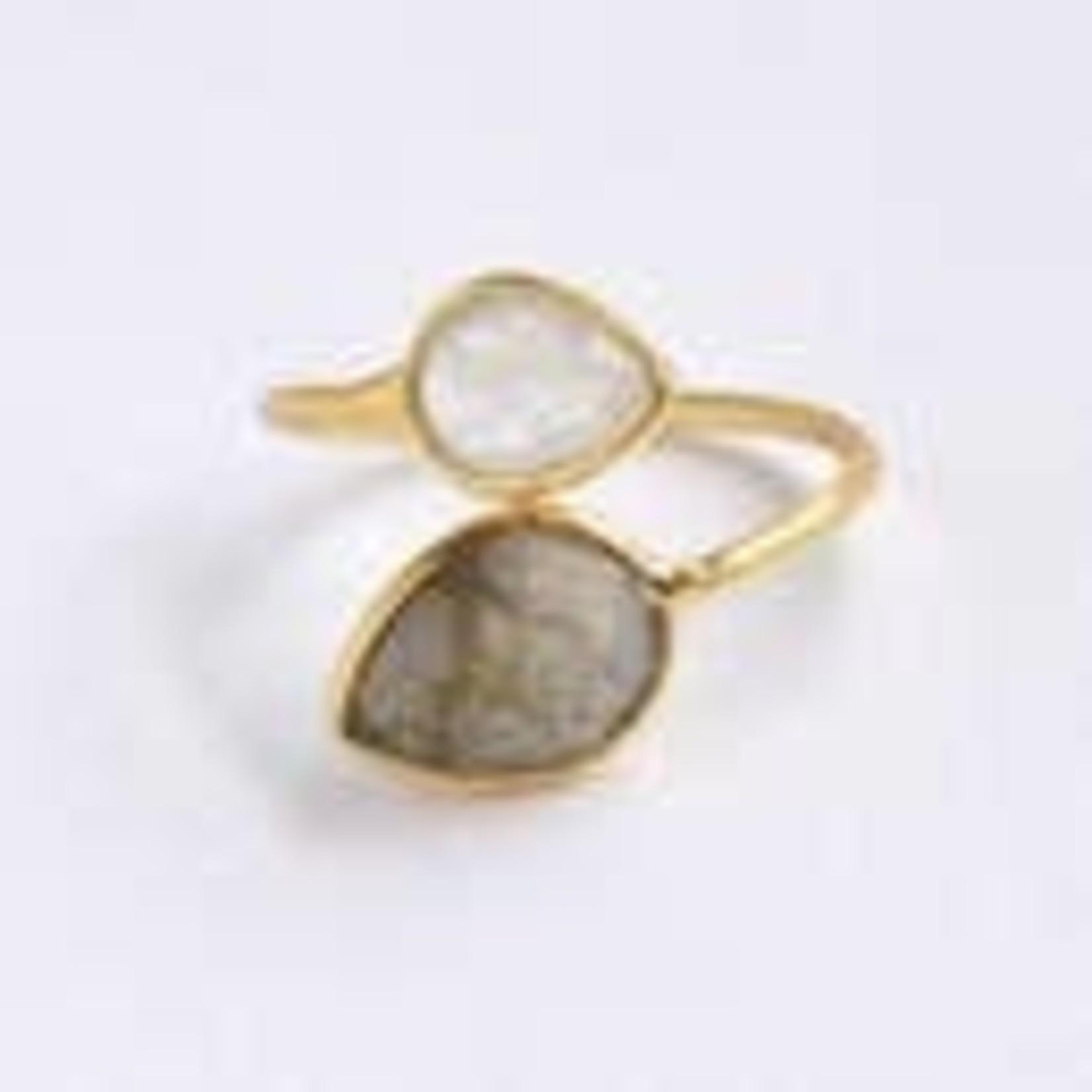 Felix Z Designs Double Gemstone Ring, Adjustable size.