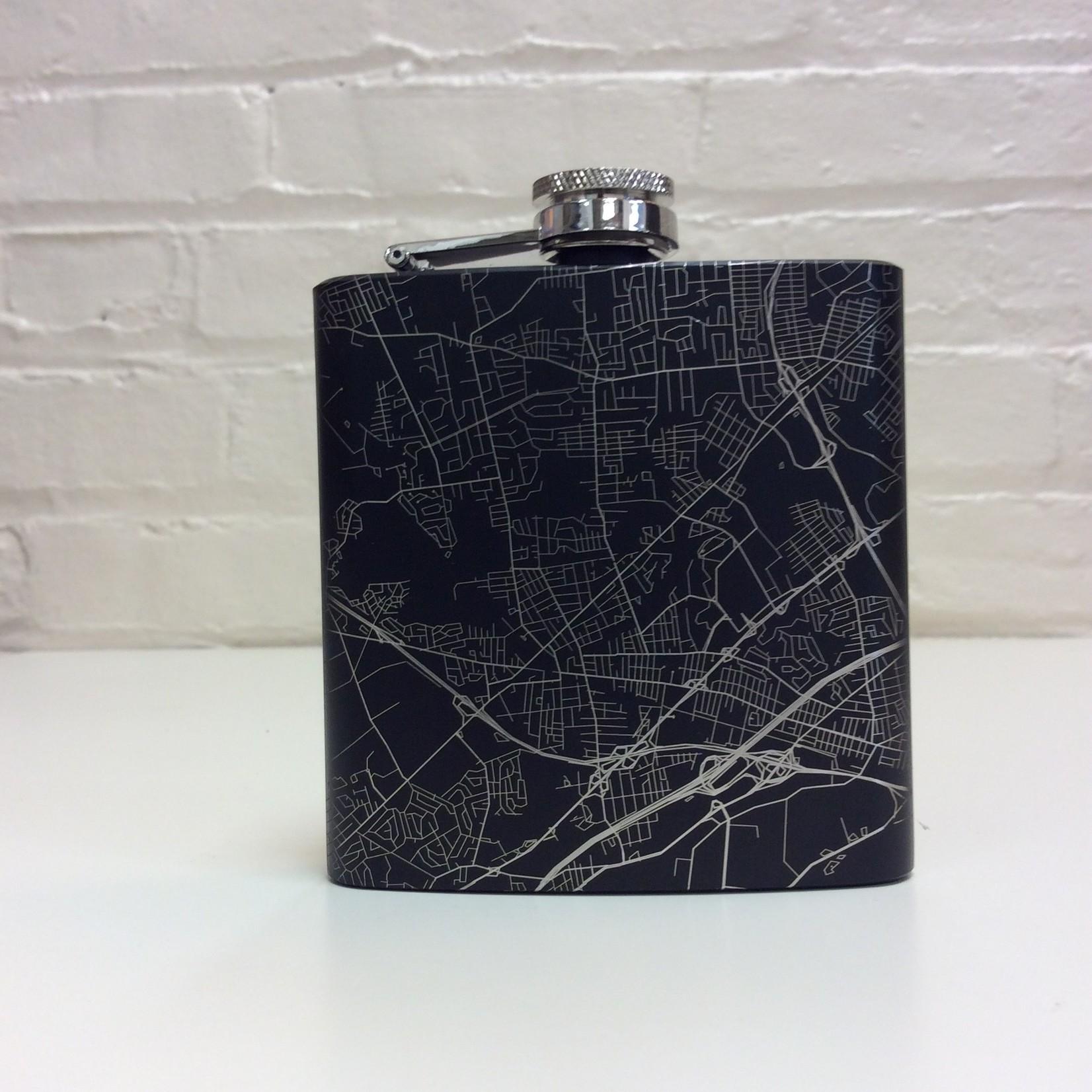 JACE design Metuchen N,J Map Hip Flask in Matte Black