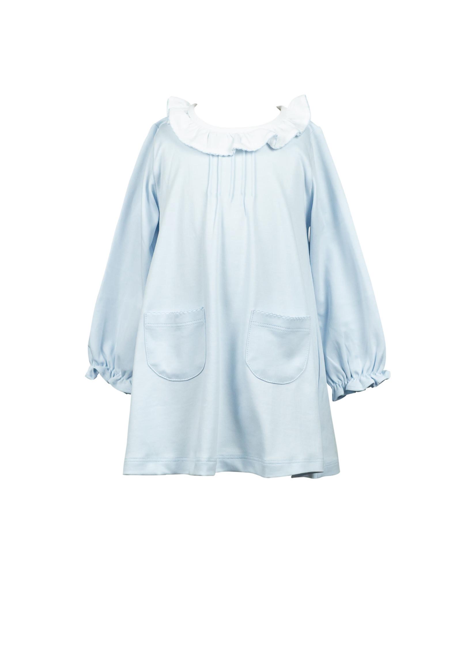 Proper Peony Solid Blue Aline Dress