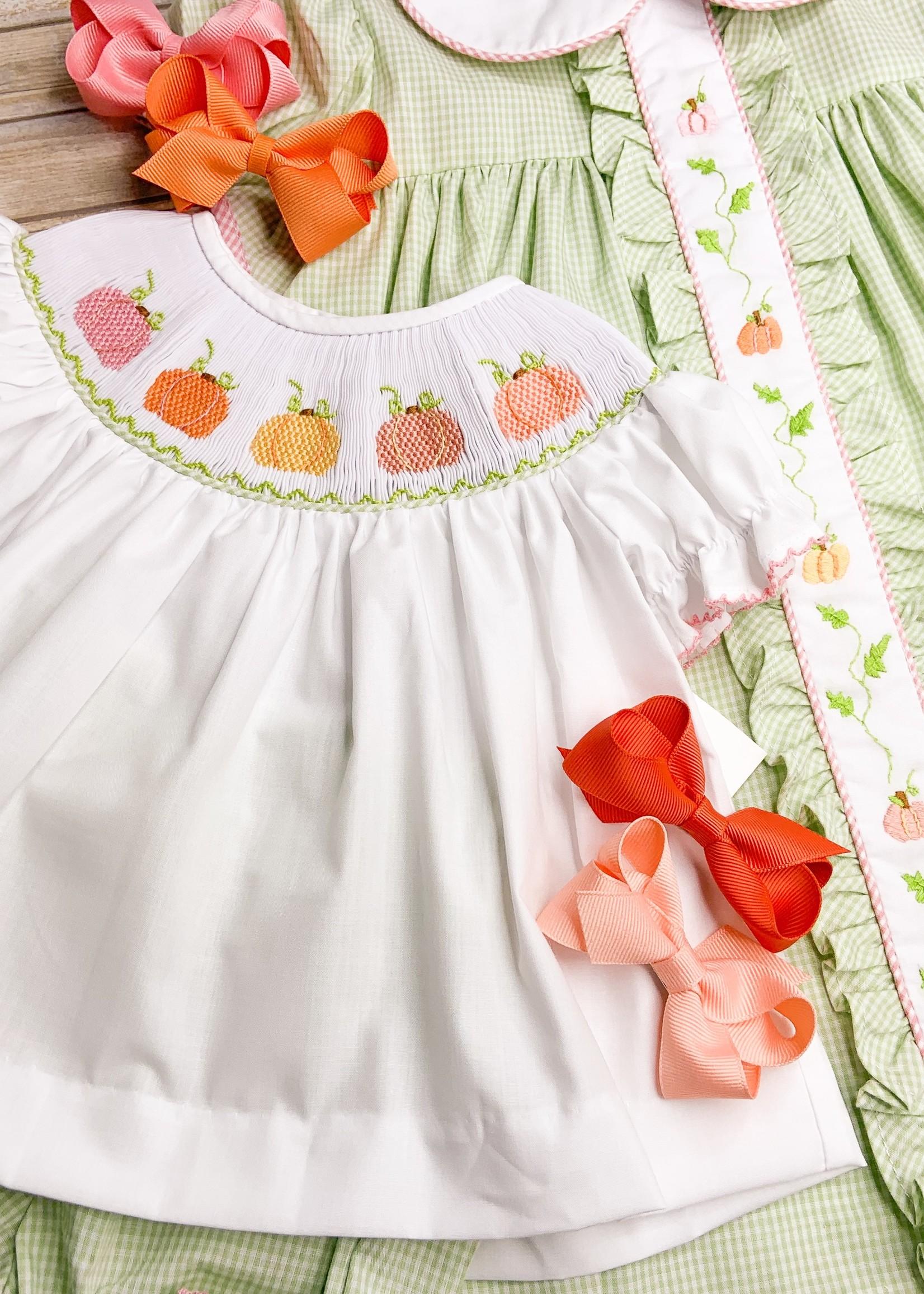 Lulu Bebe Smocked Pumpkin Bloomer Set