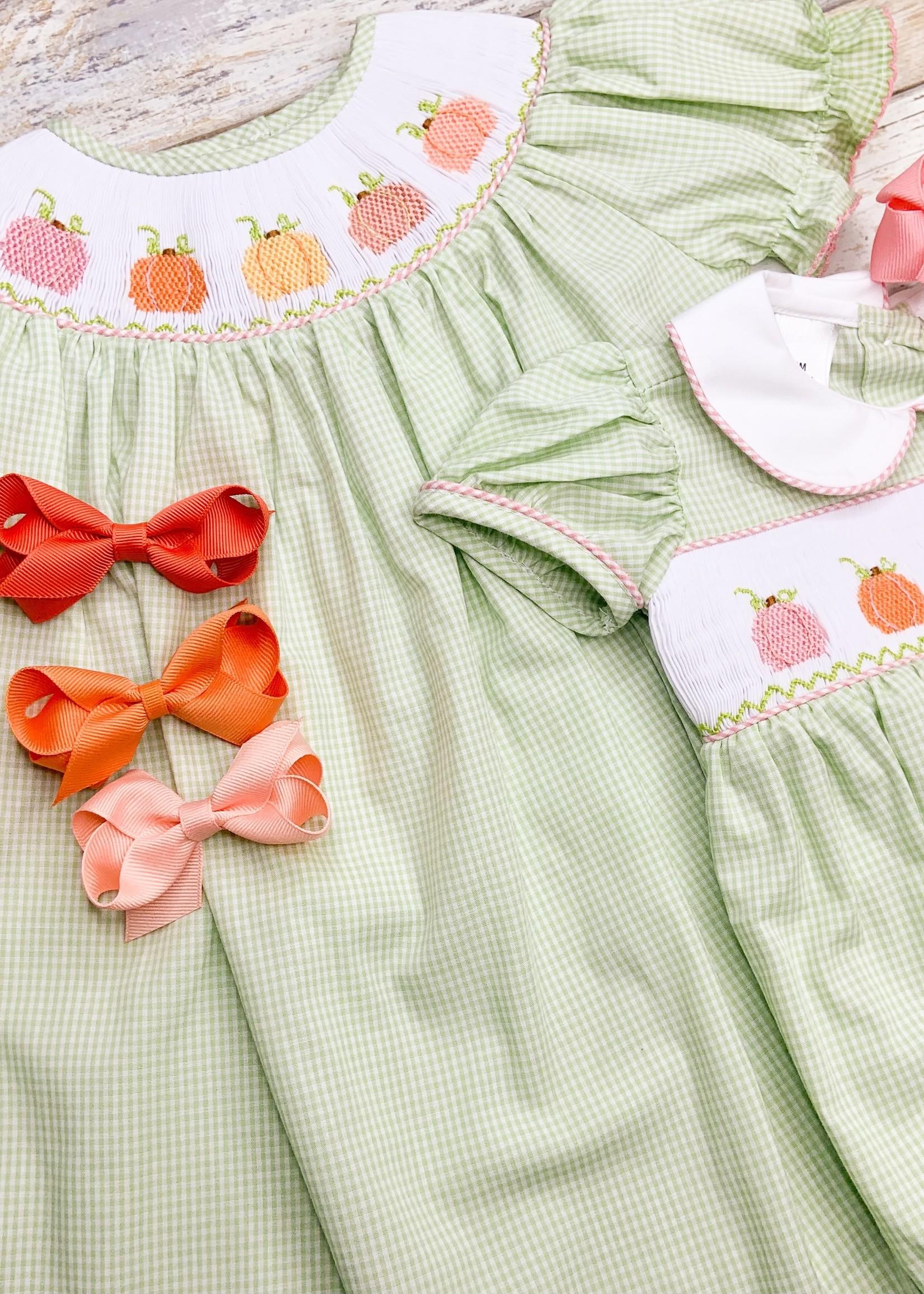 Lulu Bebe Green Pumpkin Smock Dress