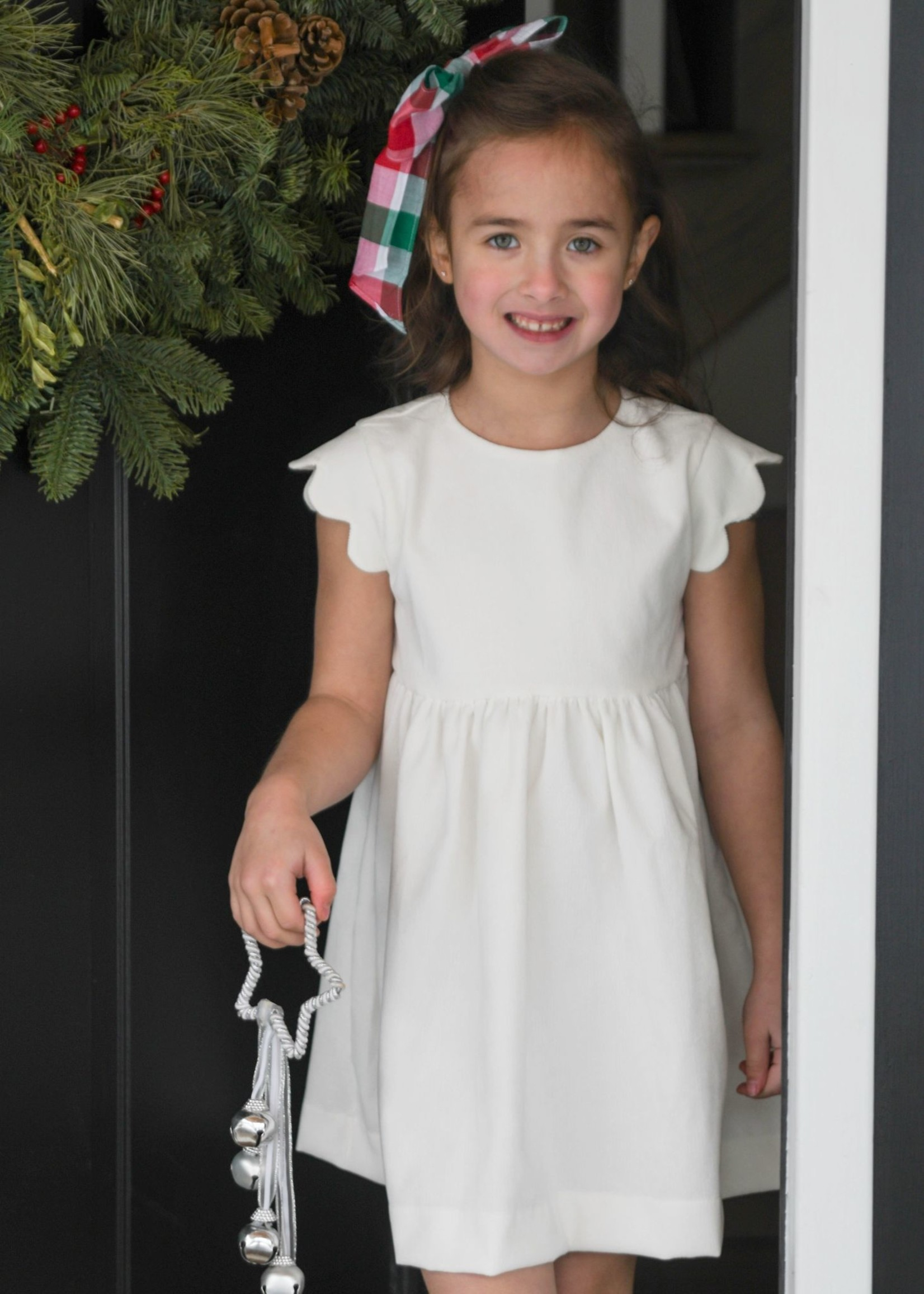 james and lottie Christmas Plaid Sadie Scalloped Sleeve Dress