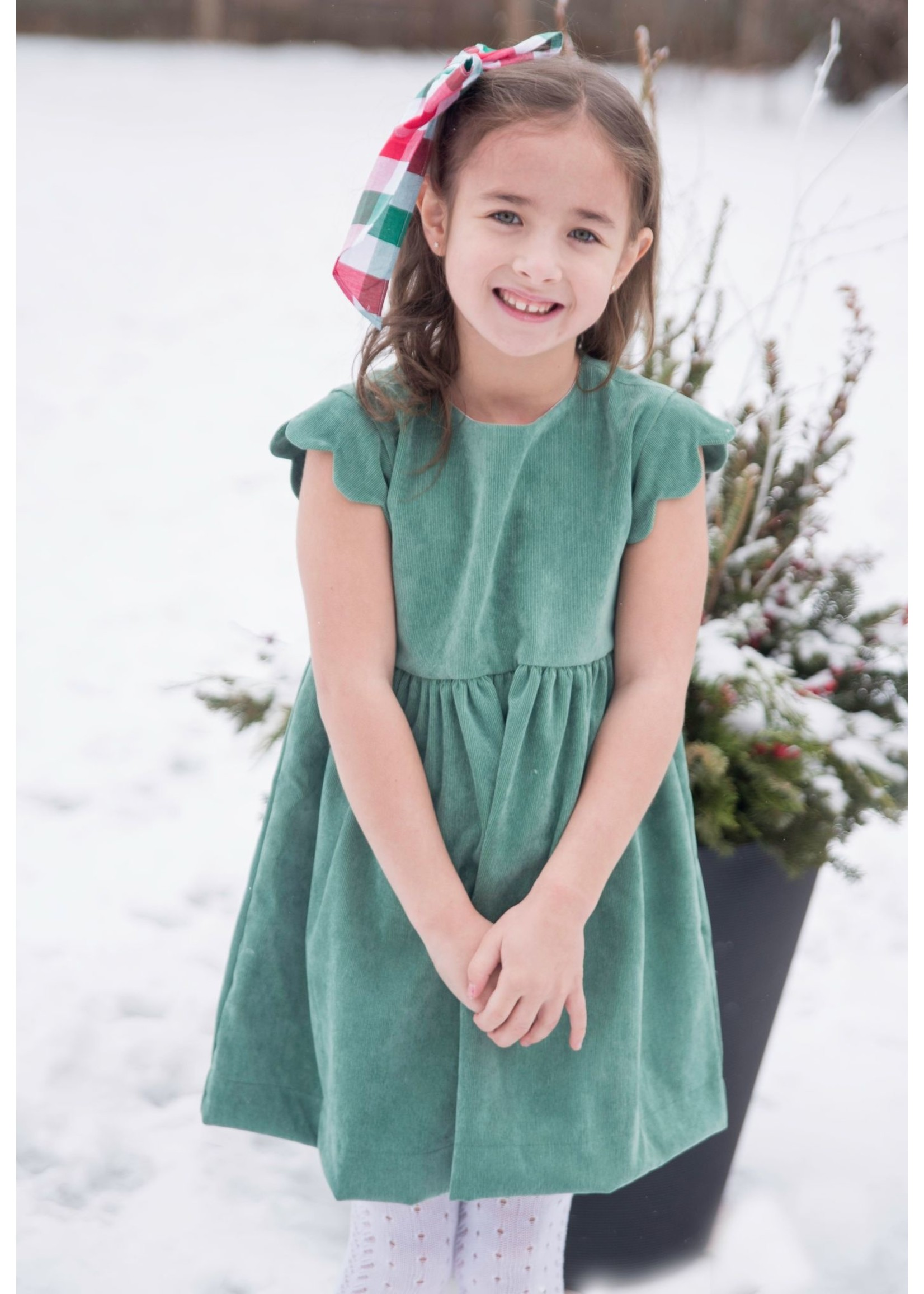 james and lottie Sadie Scalloped Sleeve Dress
