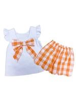 james and lottie Orange Isabella Scalloped Short Set