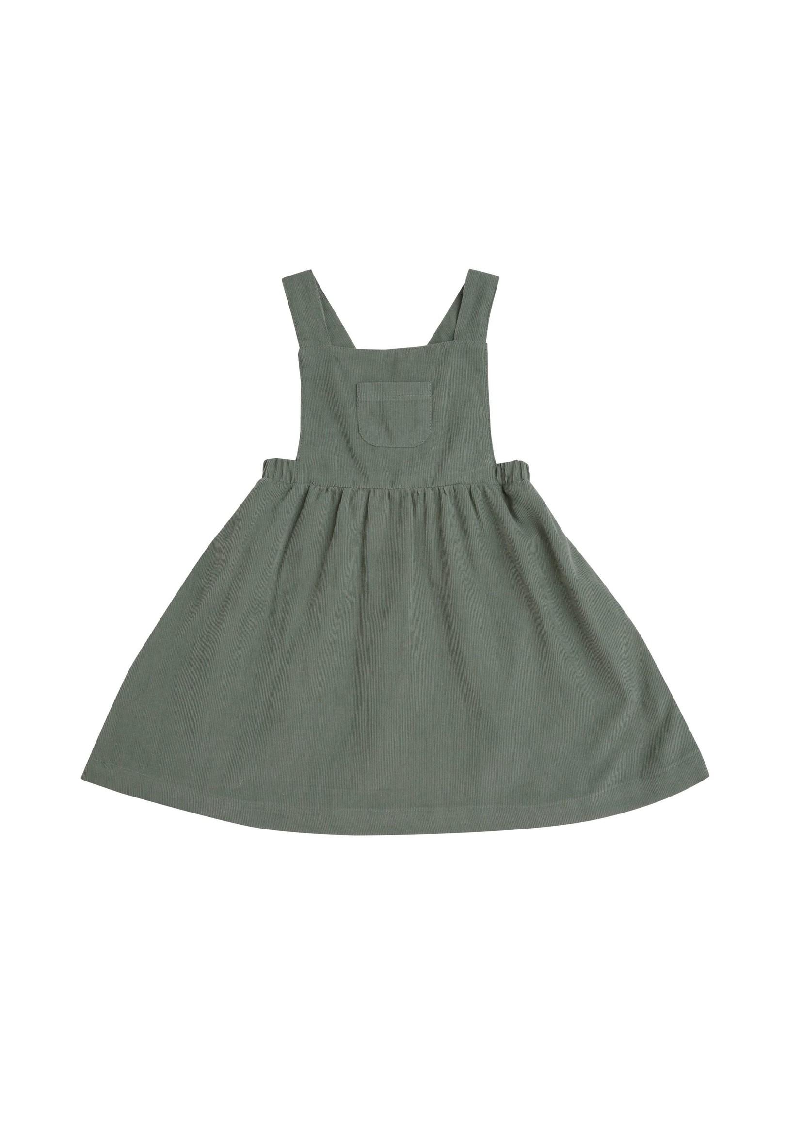 Angel Dear Hedge Green Corduroy Overall Dress