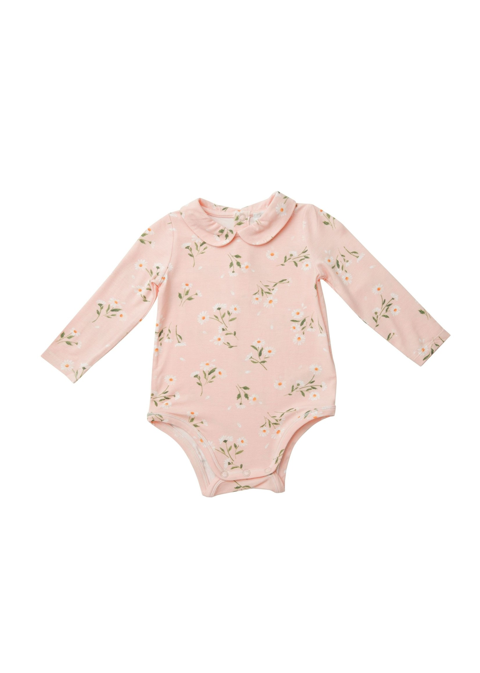Angel Dear Pretty Daisies Peter Pan Collar Bodysuit Pink
