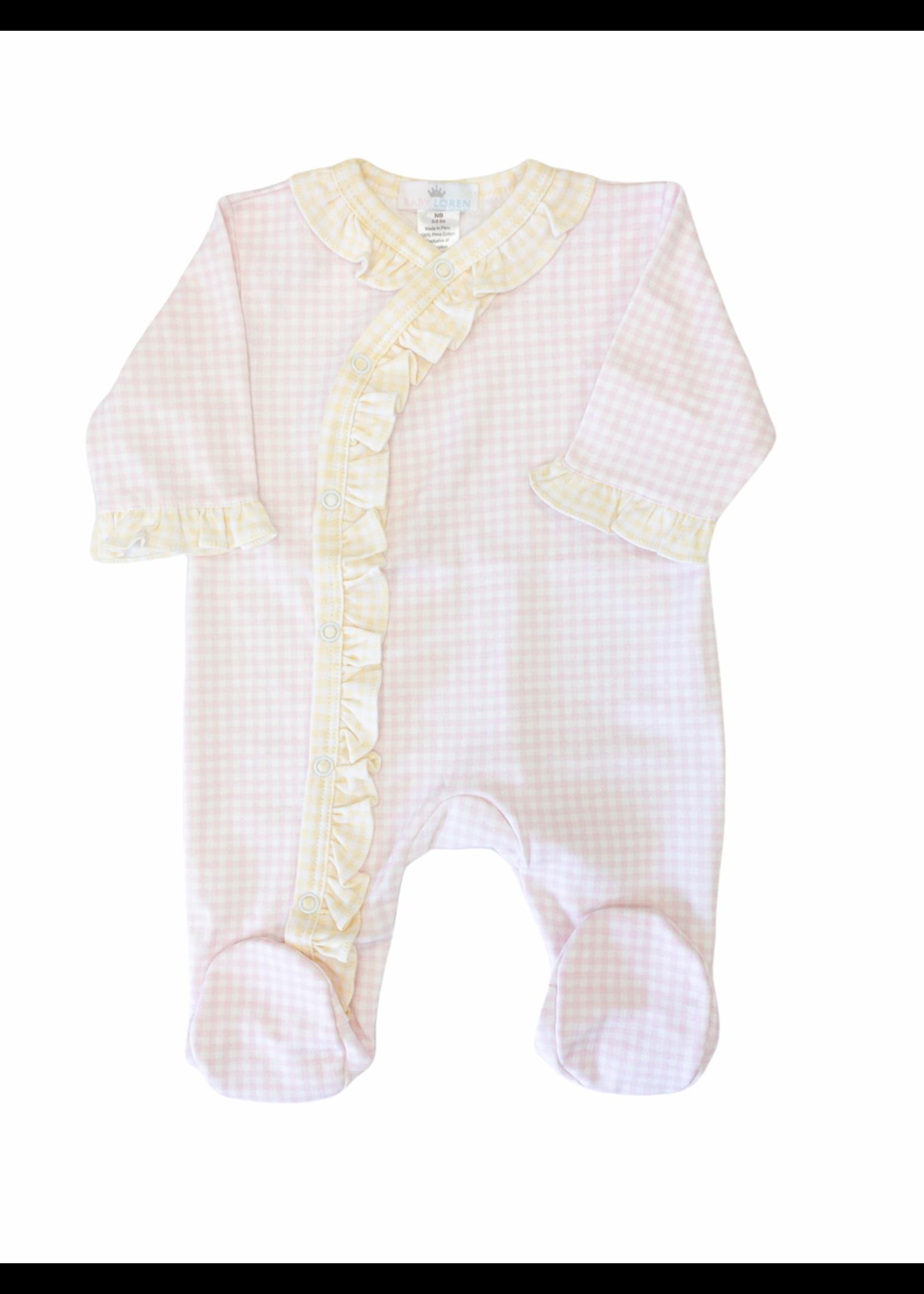 Baby Loren Pink Yellow Gingham Footie