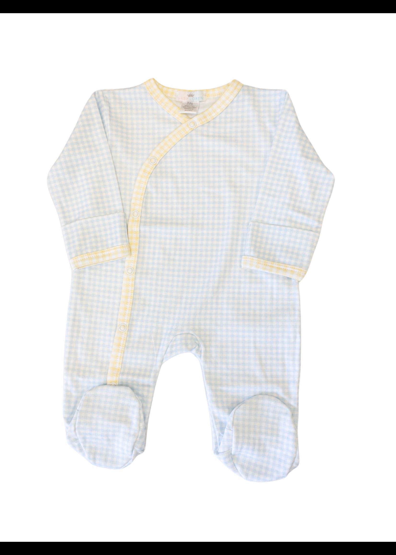 Baby Loren Luke Blue/Yellow Gingham Footie