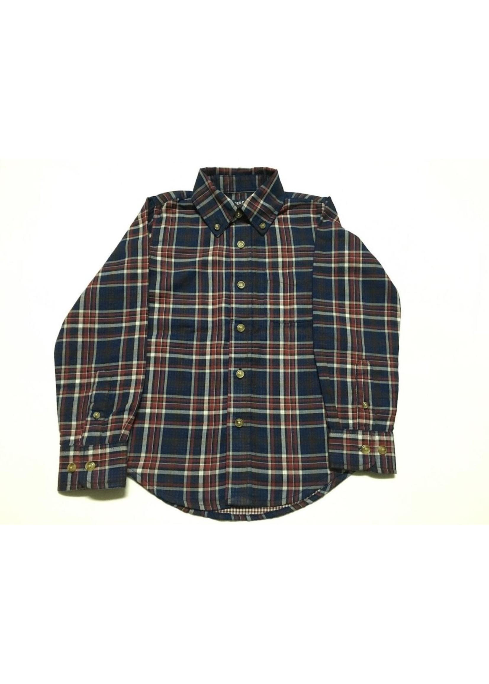 Pedal Pedal Navy Long Sleeve Plaid Shirt