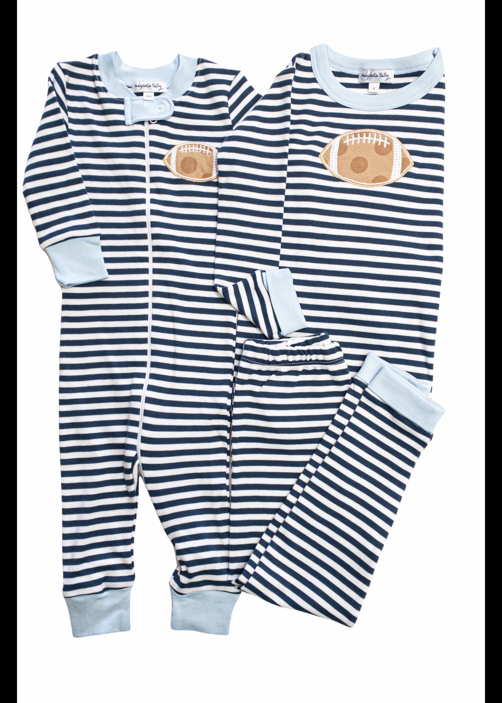 Magnolia Baby Football Stripes Long PJ's