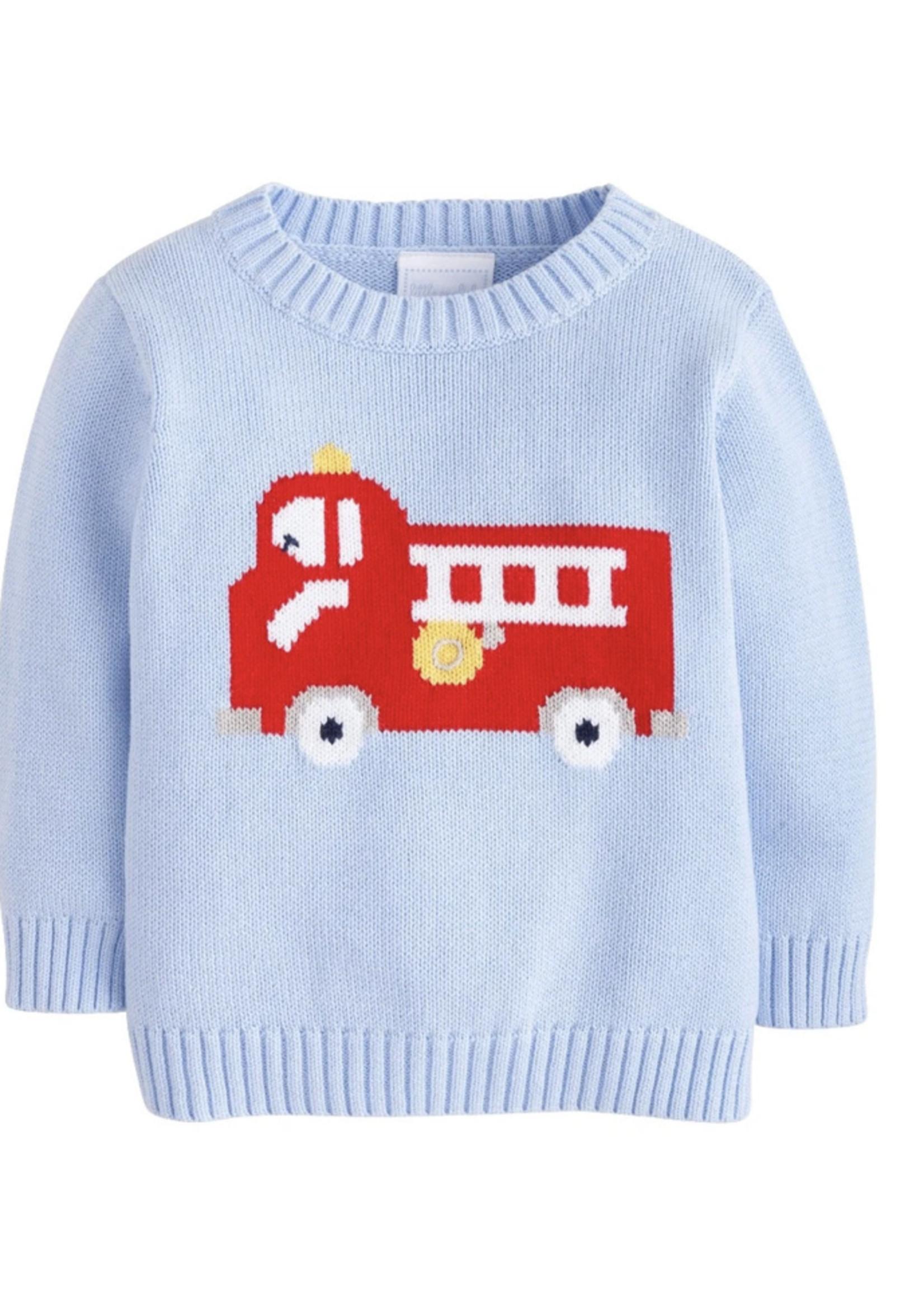 Little English Fire Truck Intarsia Sweater