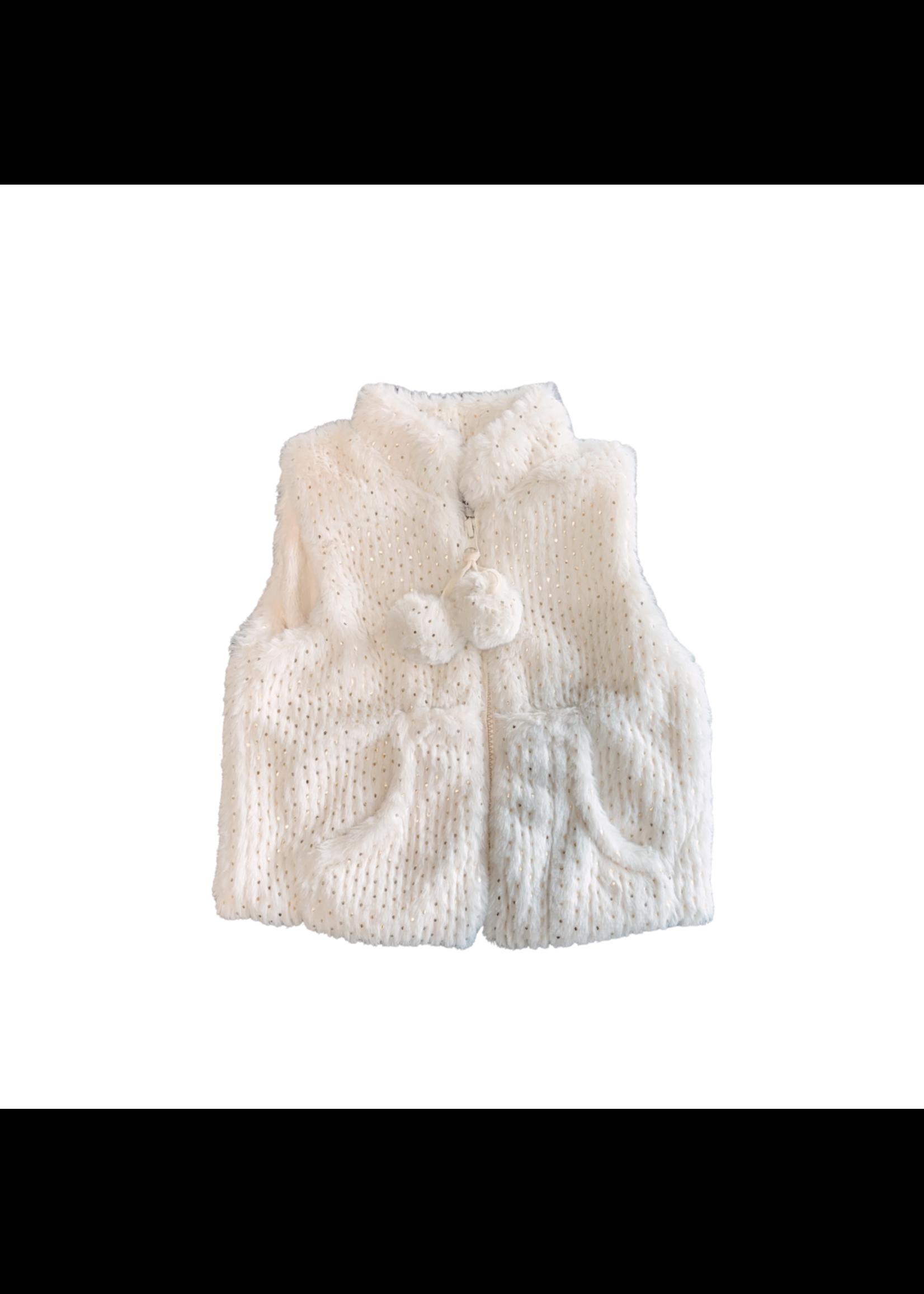 Widgeon Zip Front Vest Cream Gold Foil